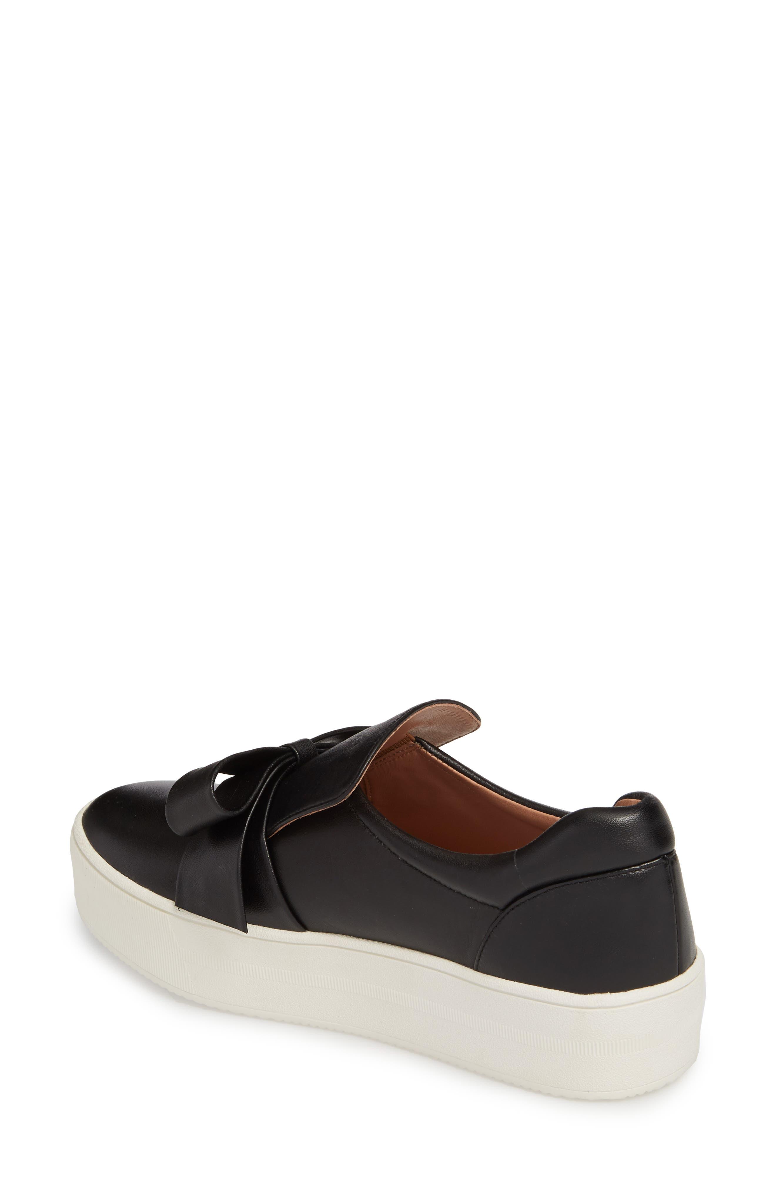 Vania Bow Platform Sneaker,                             Alternate thumbnail 2, color,                             Black Leather
