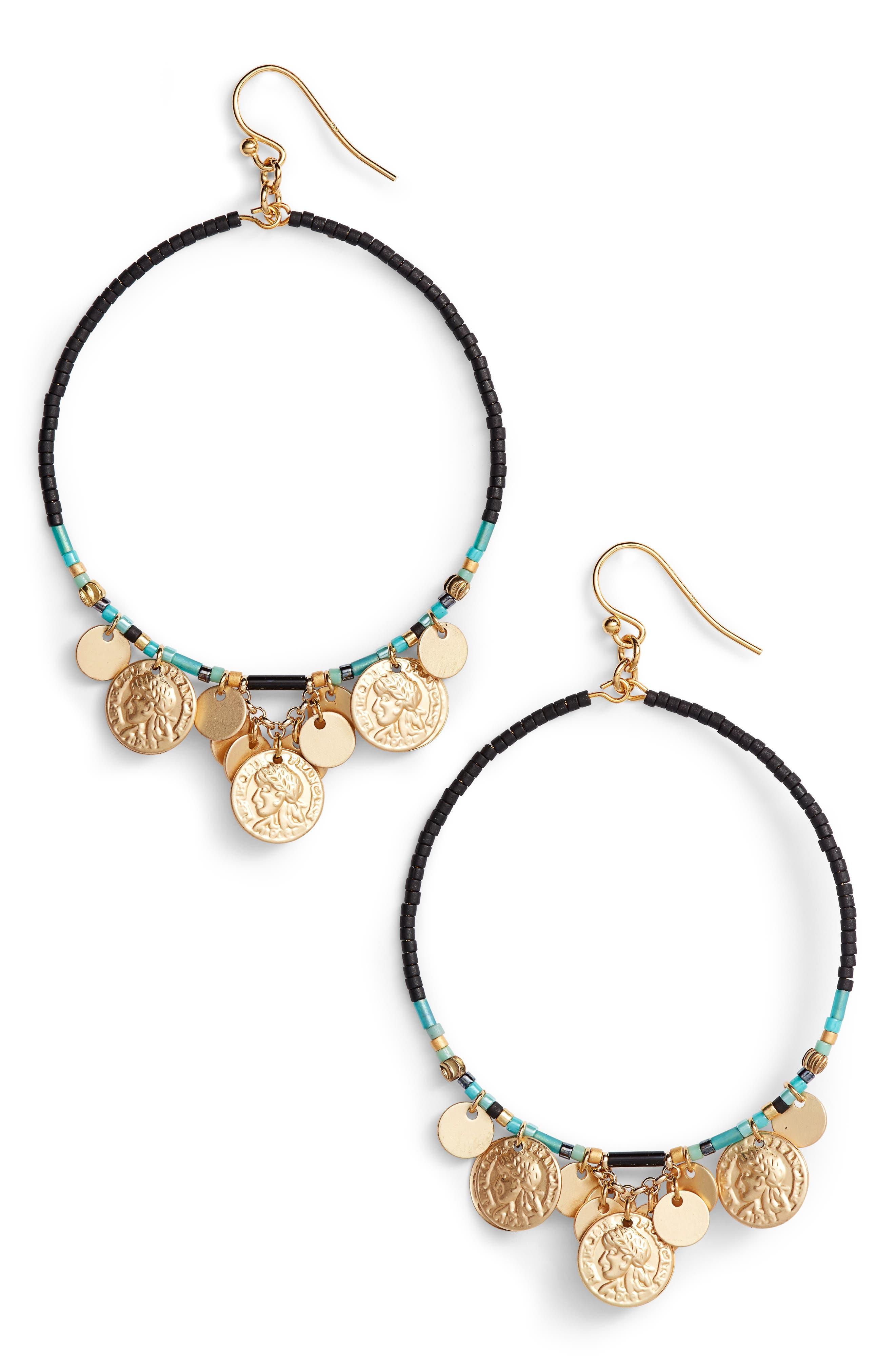 Coin Hoop Earrings,                             Main thumbnail 1, color,                             Black Mix