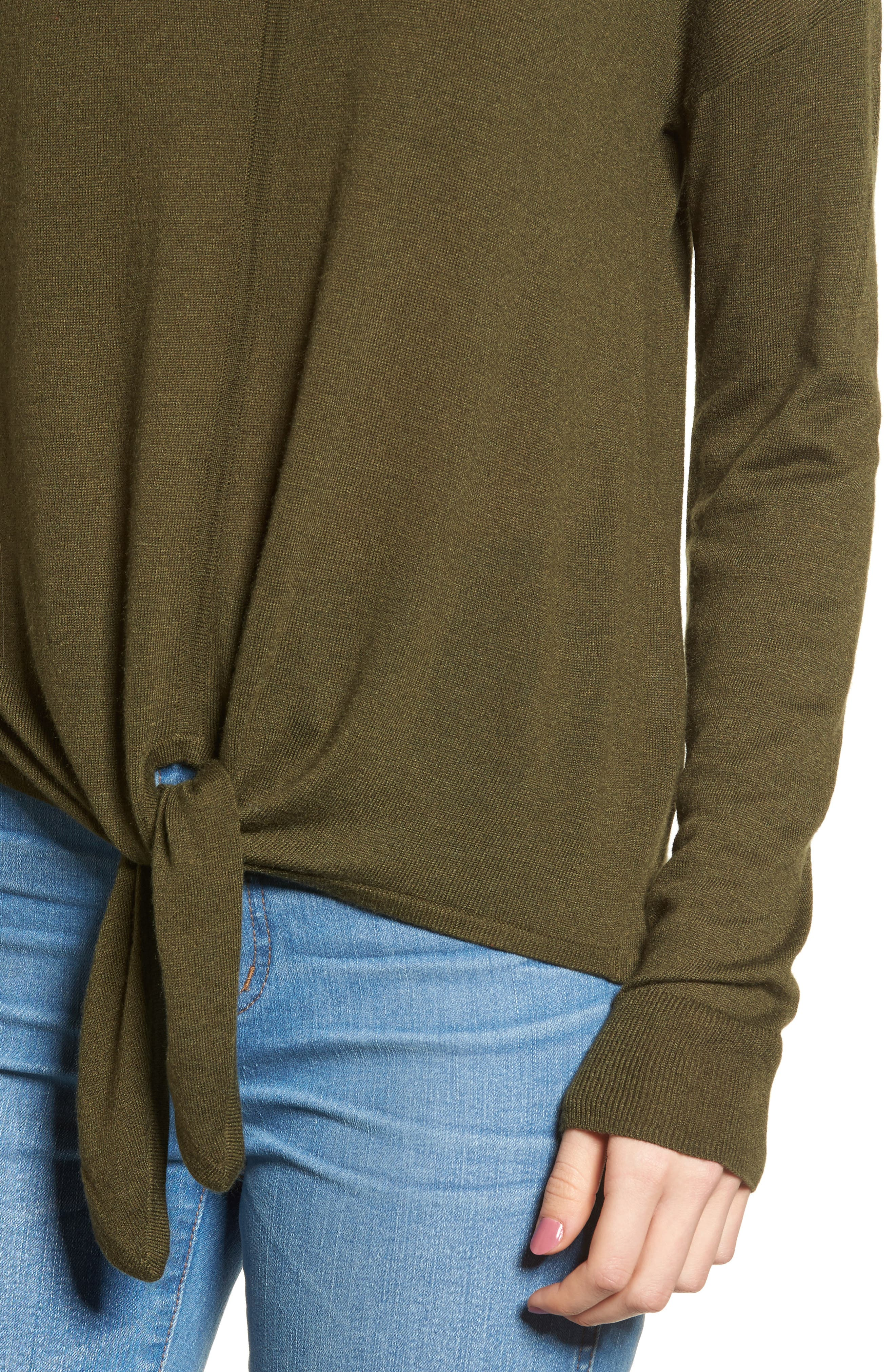 Modern Tie Front Sweater,                             Alternate thumbnail 4, color,                             Foliage Green