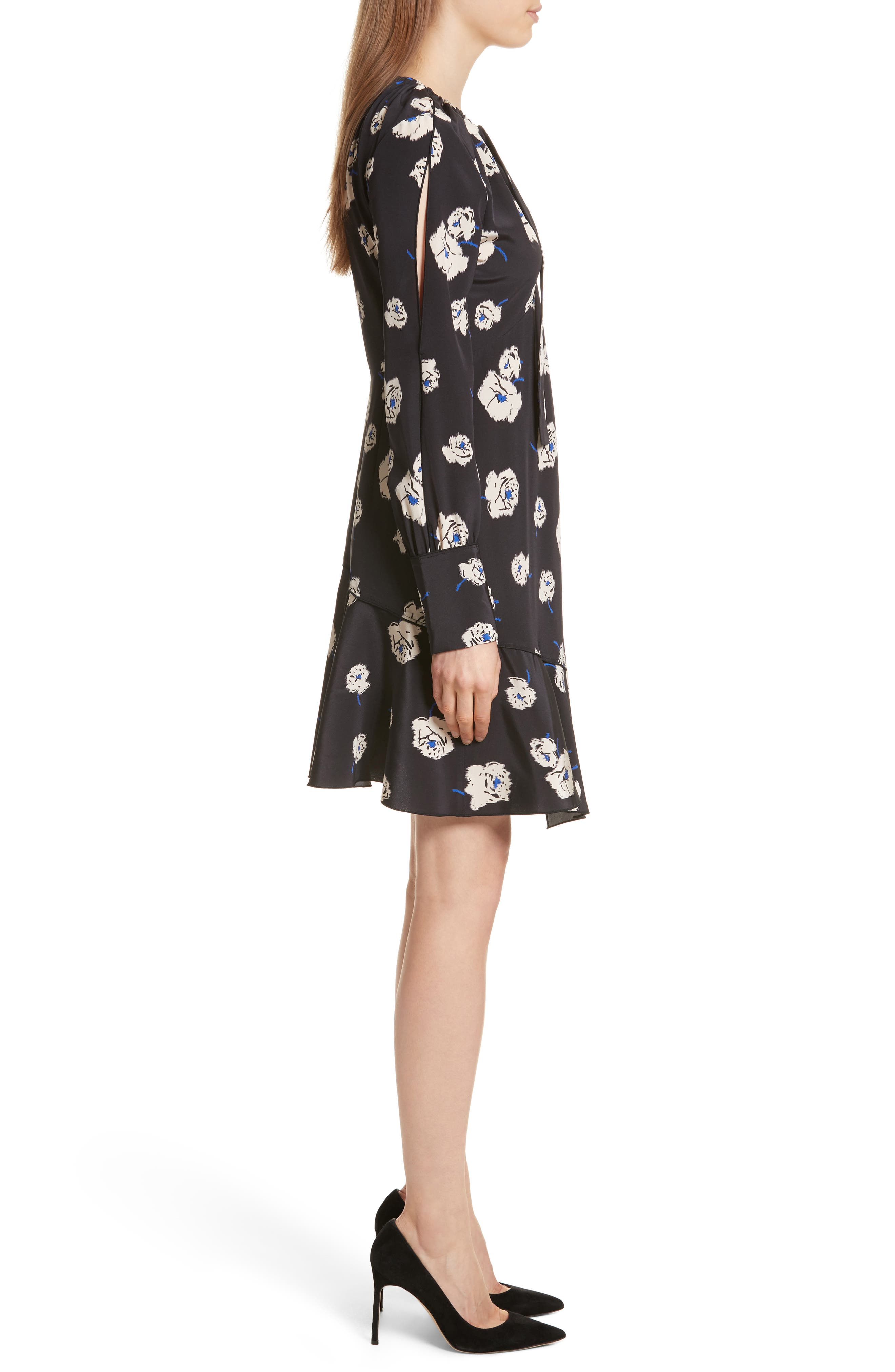 Floral Ruffle Silk Dress,                             Alternate thumbnail 3, color,                             Black