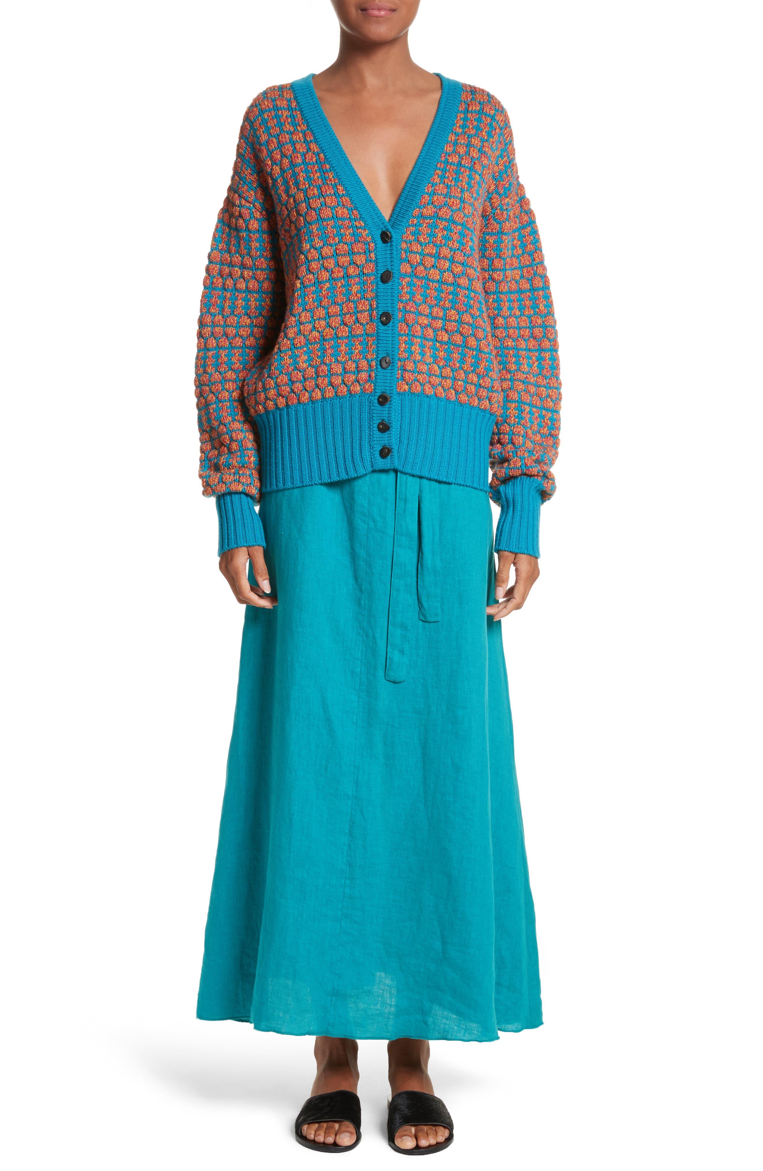Delta Tie Waist Linen Skirt,                             Alternate thumbnail 7, color,                             Peacock