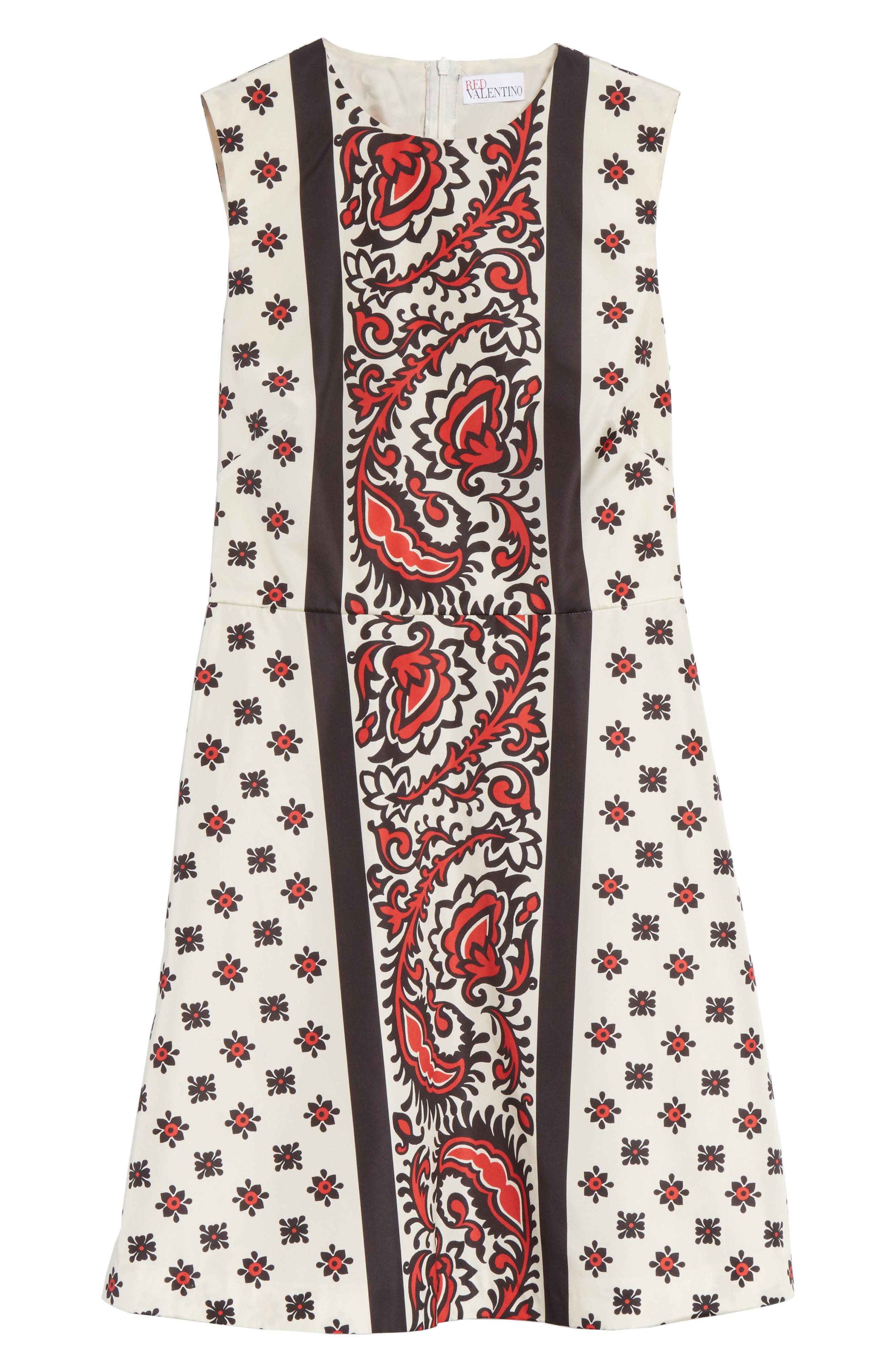Print A-Line Dress,                             Alternate thumbnail 6, color,                             Cherry