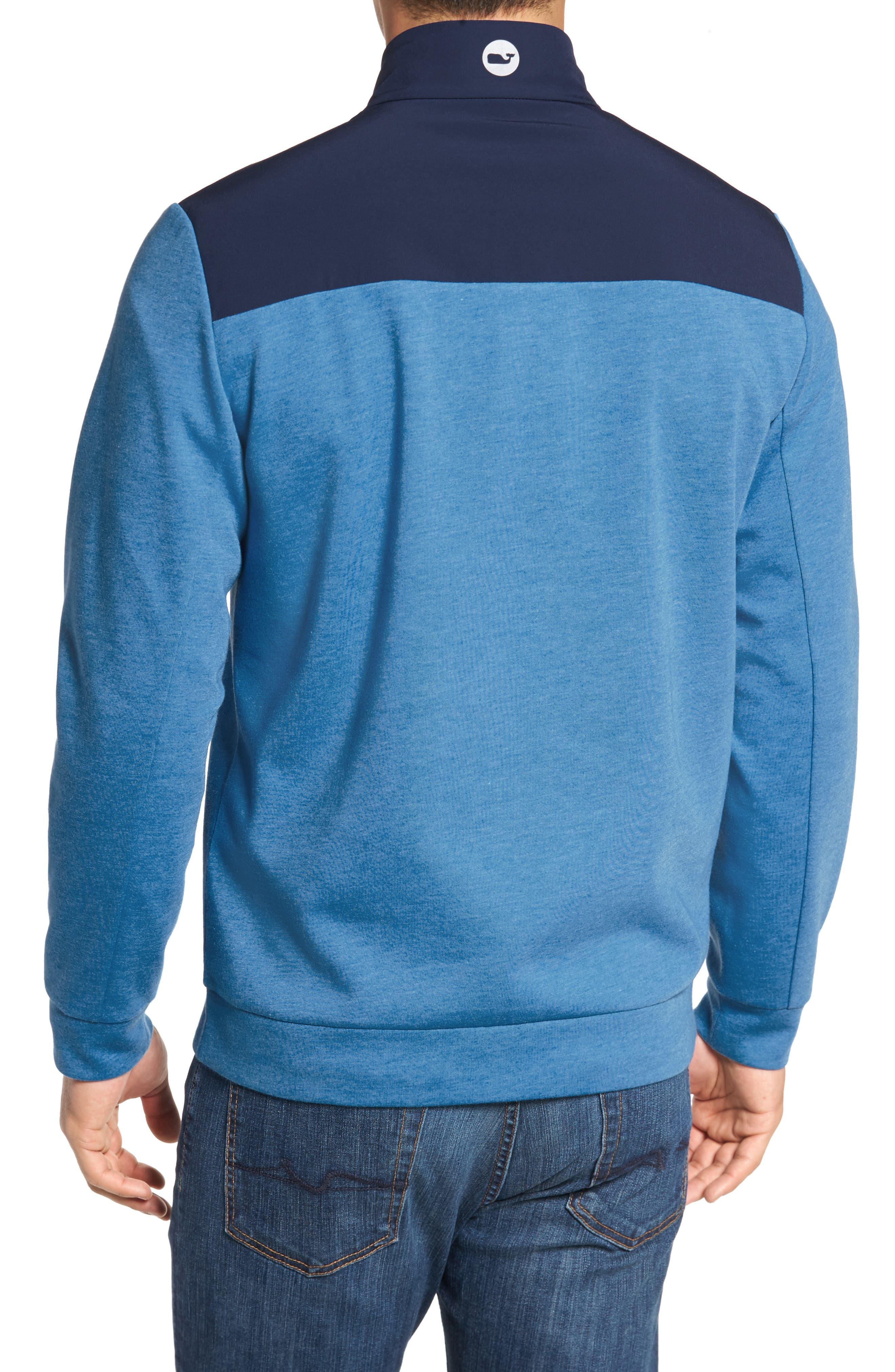 Shep Mesh Performance Yoke Quarter Zip Pullover,                             Alternate thumbnail 2, color,                             Hull Blue
