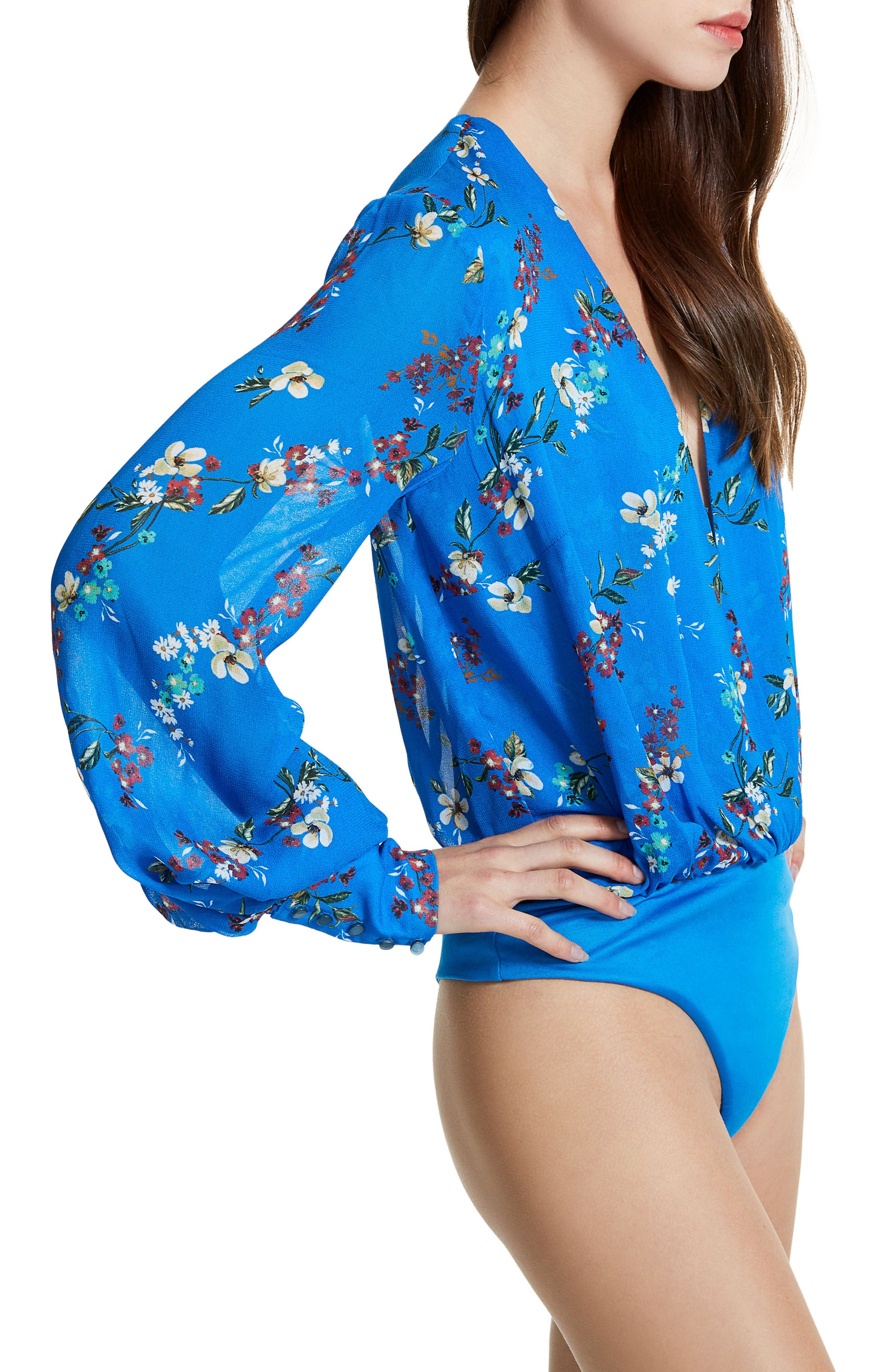Sofie Thong Bodysuit & Scarf,                             Alternate thumbnail 5, color,                             Directoire Blue Daffodill