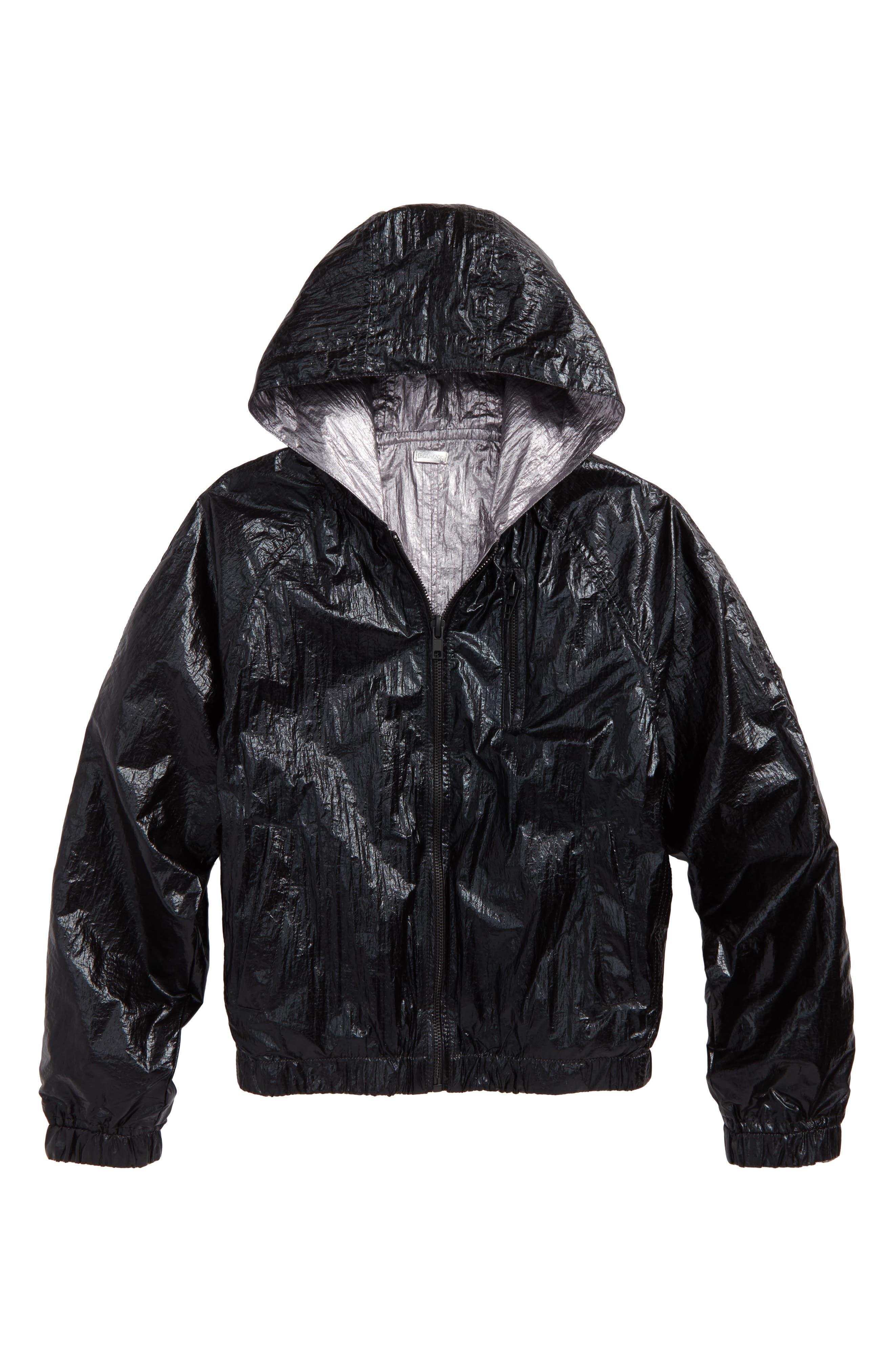 BLANCNYC Good Vibrations Reversible Hooded Jacket,                             Main thumbnail 1, color,                             Black/ Silver