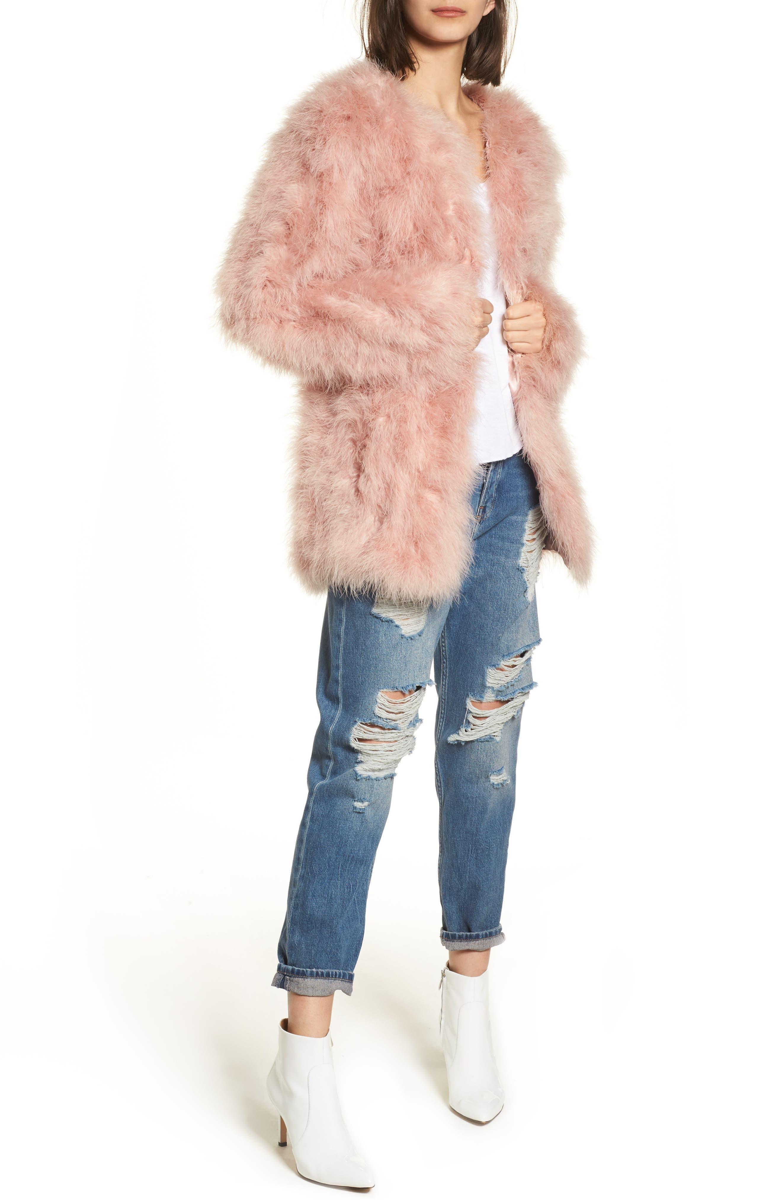 Topshop Longline Marabou Feather Jacket