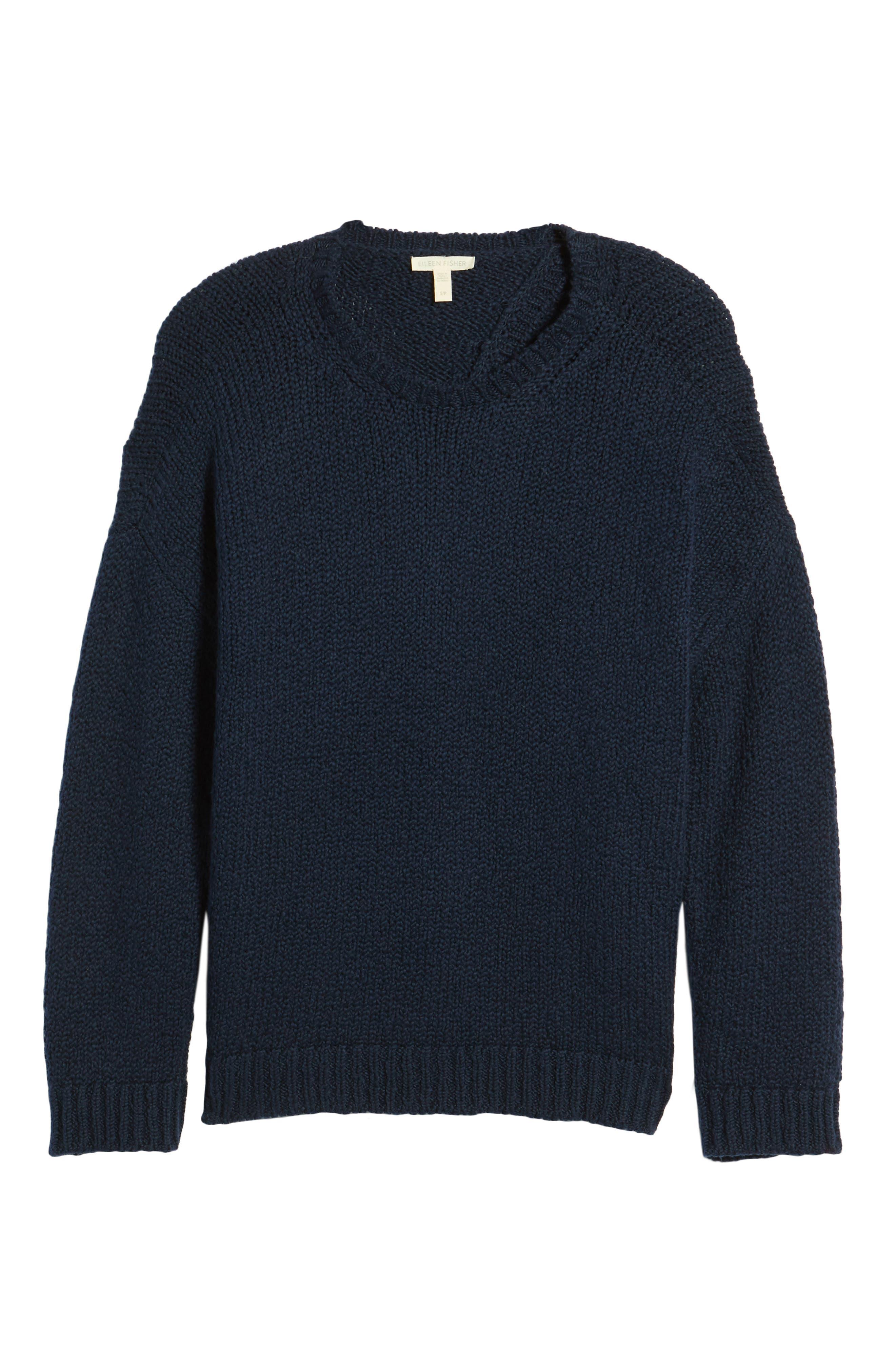 Organic Cotton Crewneck Sweater,                             Alternate thumbnail 5, color,                             Midnight