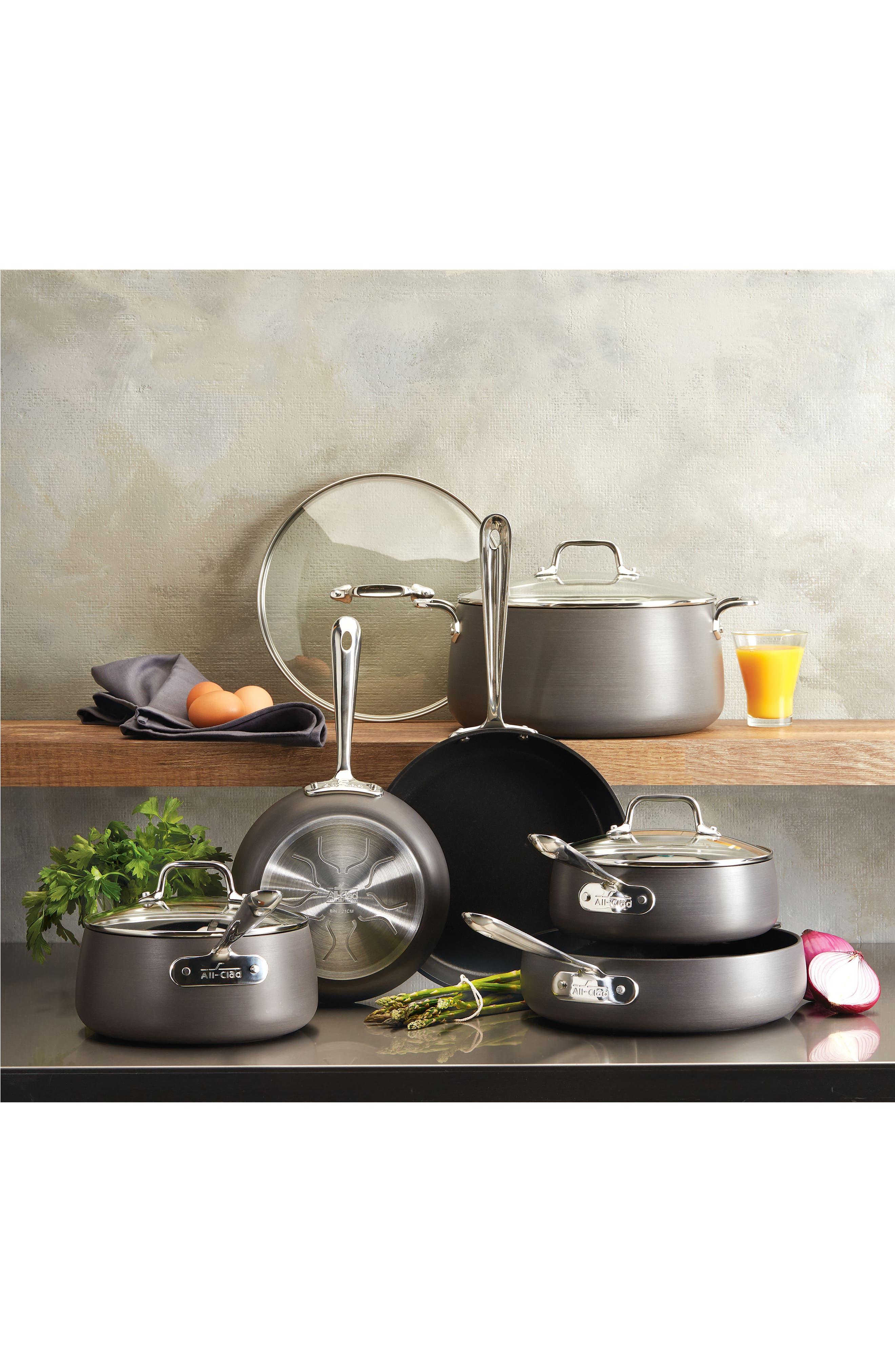 Hard Anodized 10-Piece Nonstick Cookware Set,                             Alternate thumbnail 3, color,                             Grey