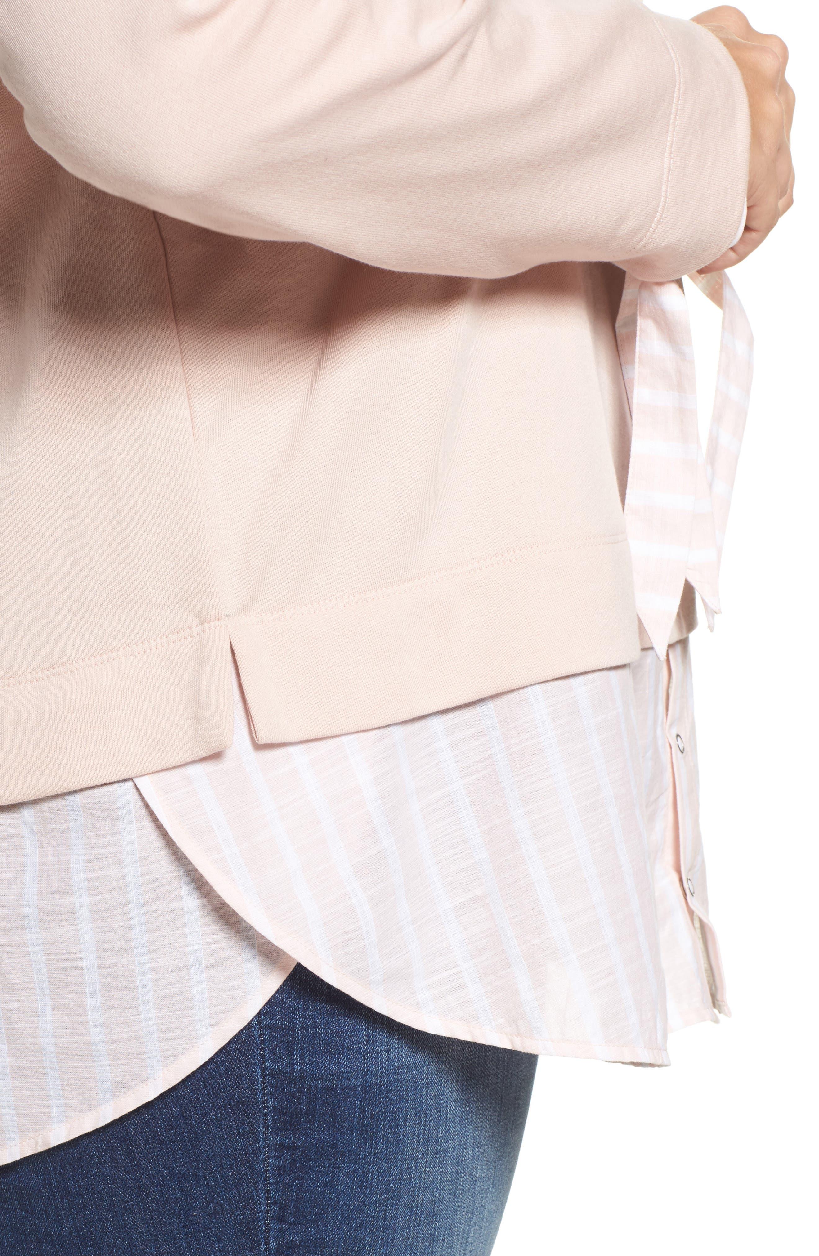 Woven Hem Sweatshirt,                             Alternate thumbnail 4, color,                             Pink- Stripe Colorblock