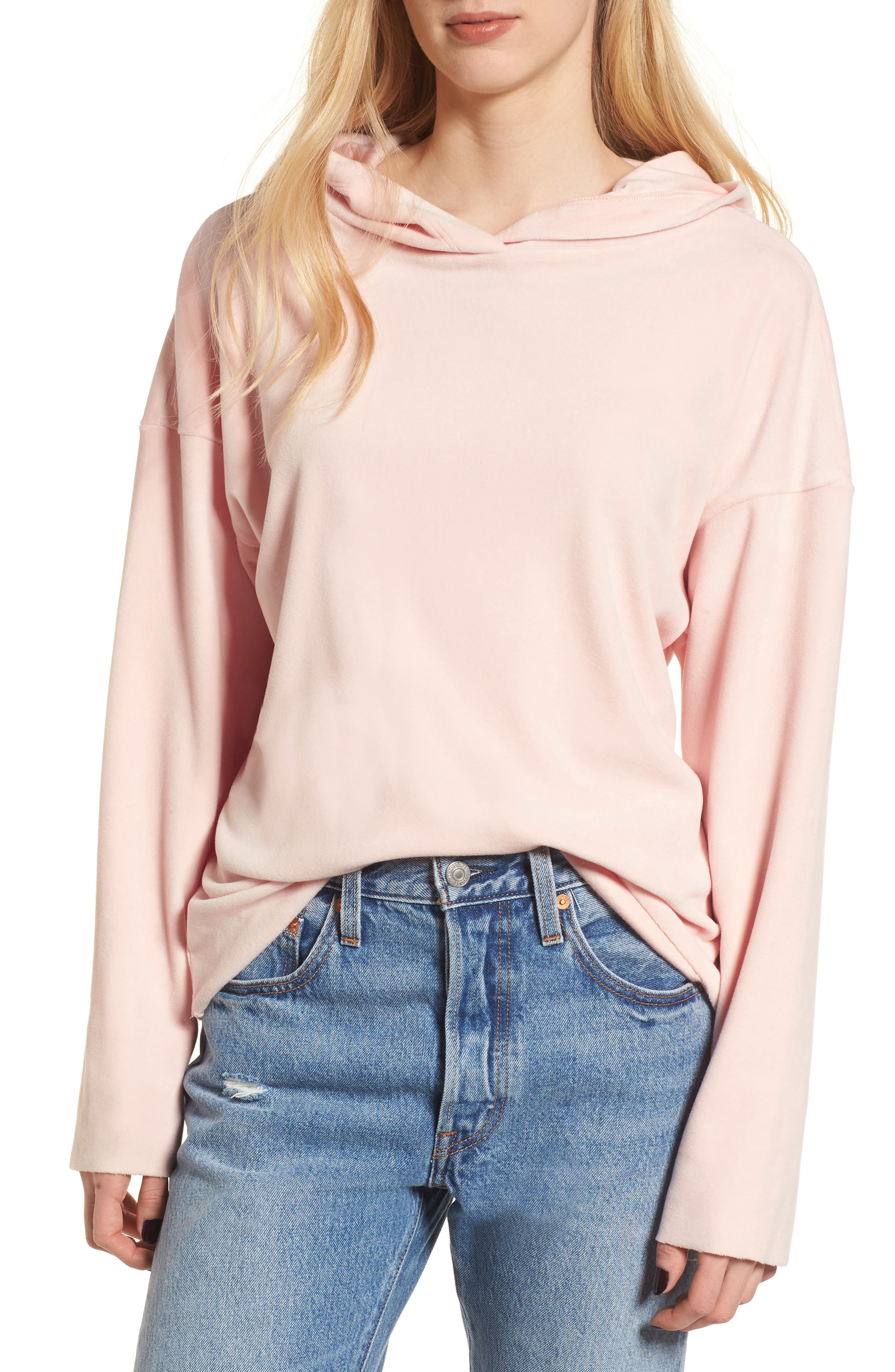Velour Hoodie,                         Main,                         color, Blush