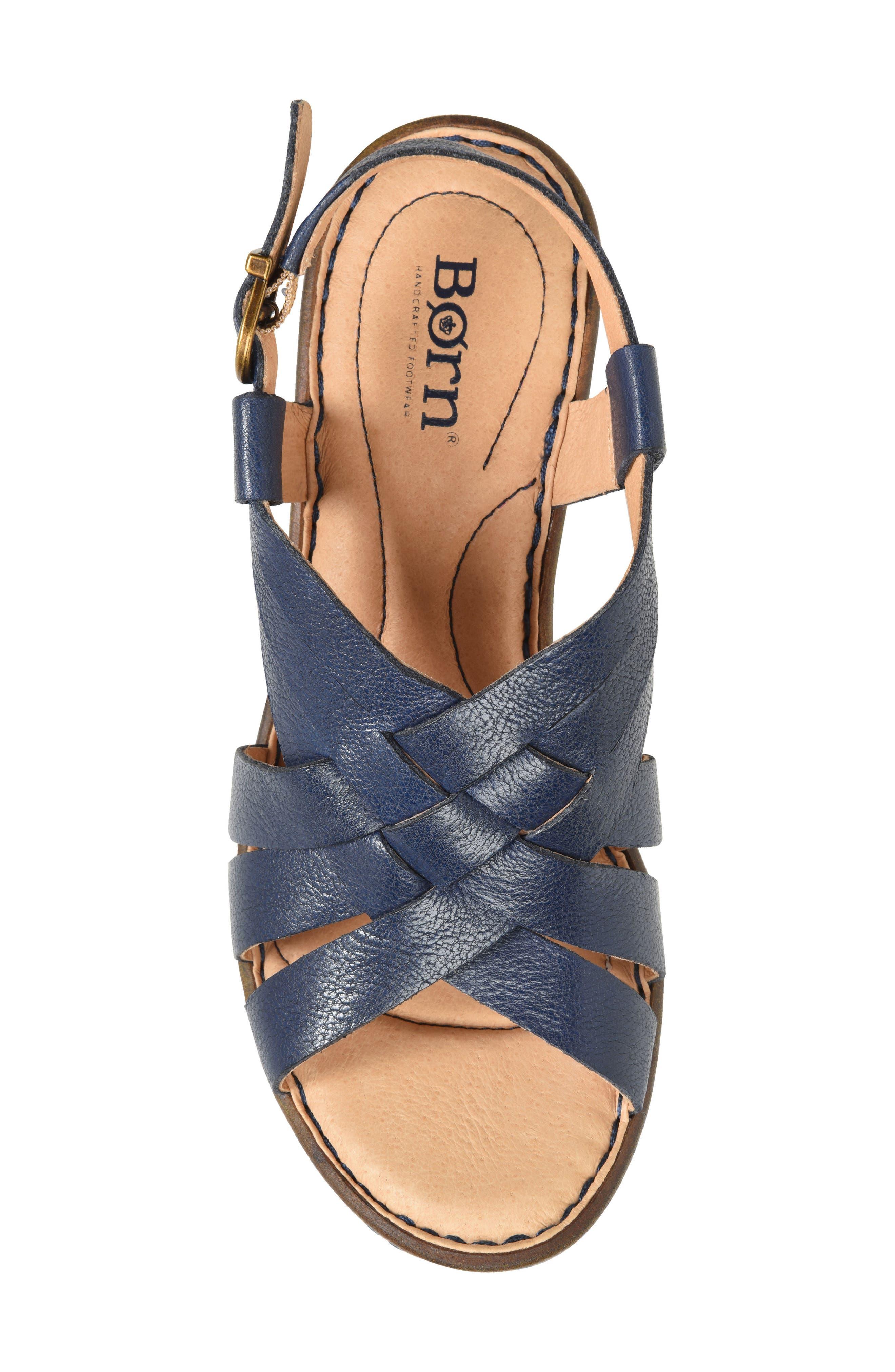 Crevalle Platform Sandal,                             Alternate thumbnail 5, color,                             Navy Leather