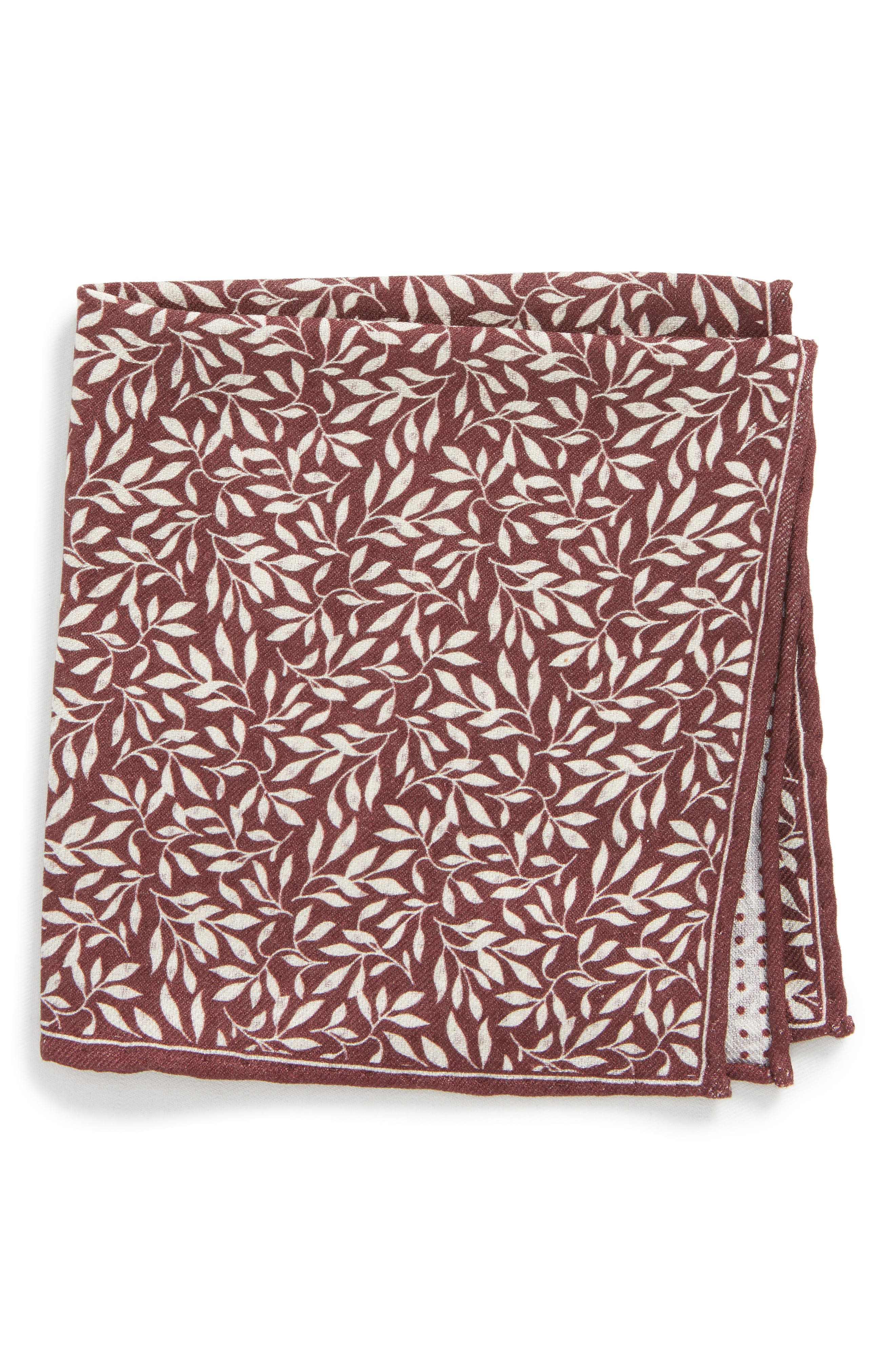 Reversible Domino Sprout Silk Pocket Square,                         Main,                         color, Burgundy