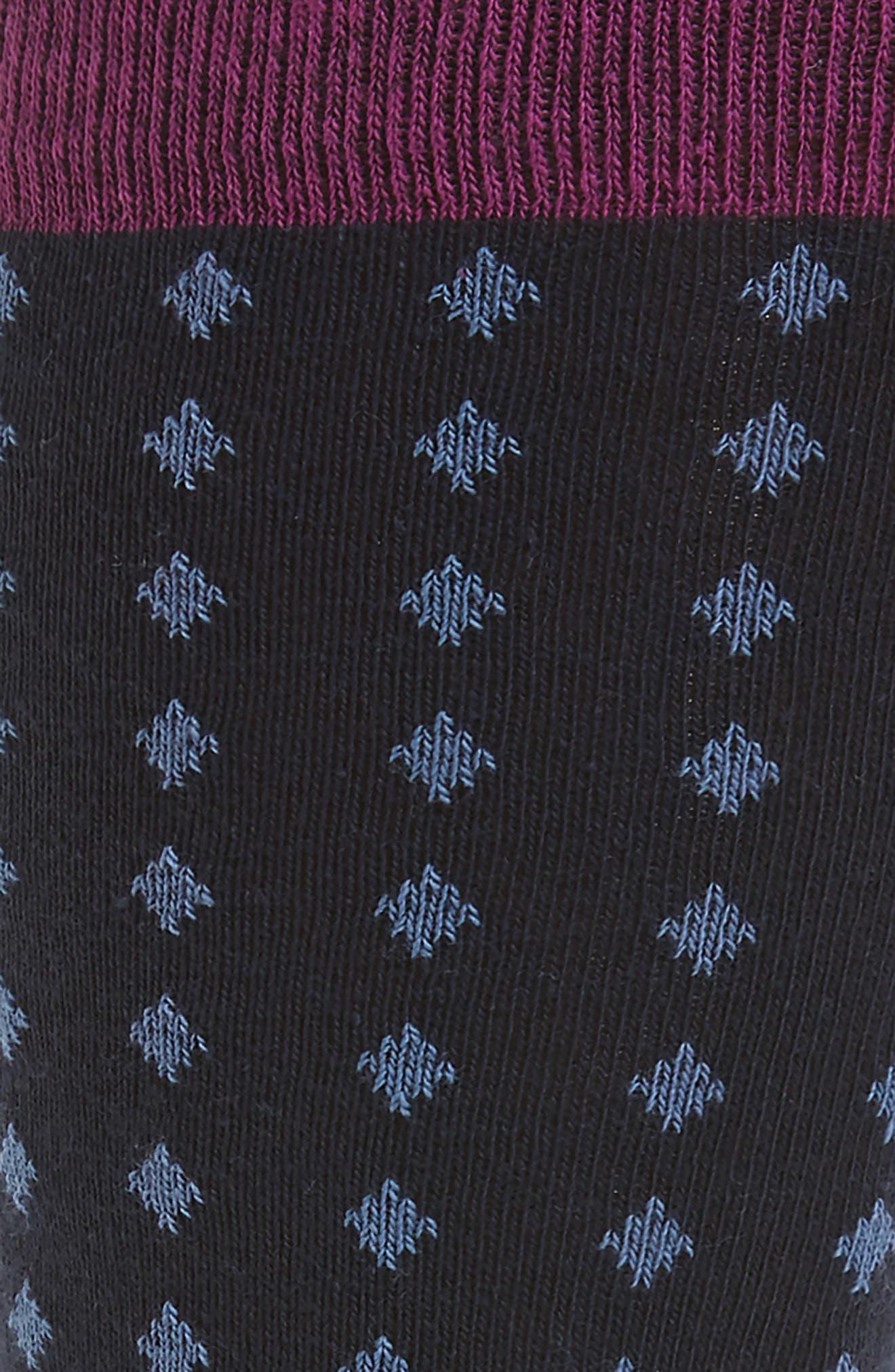 Neat Diamond Socks,                             Alternate thumbnail 2, color,                             Navy