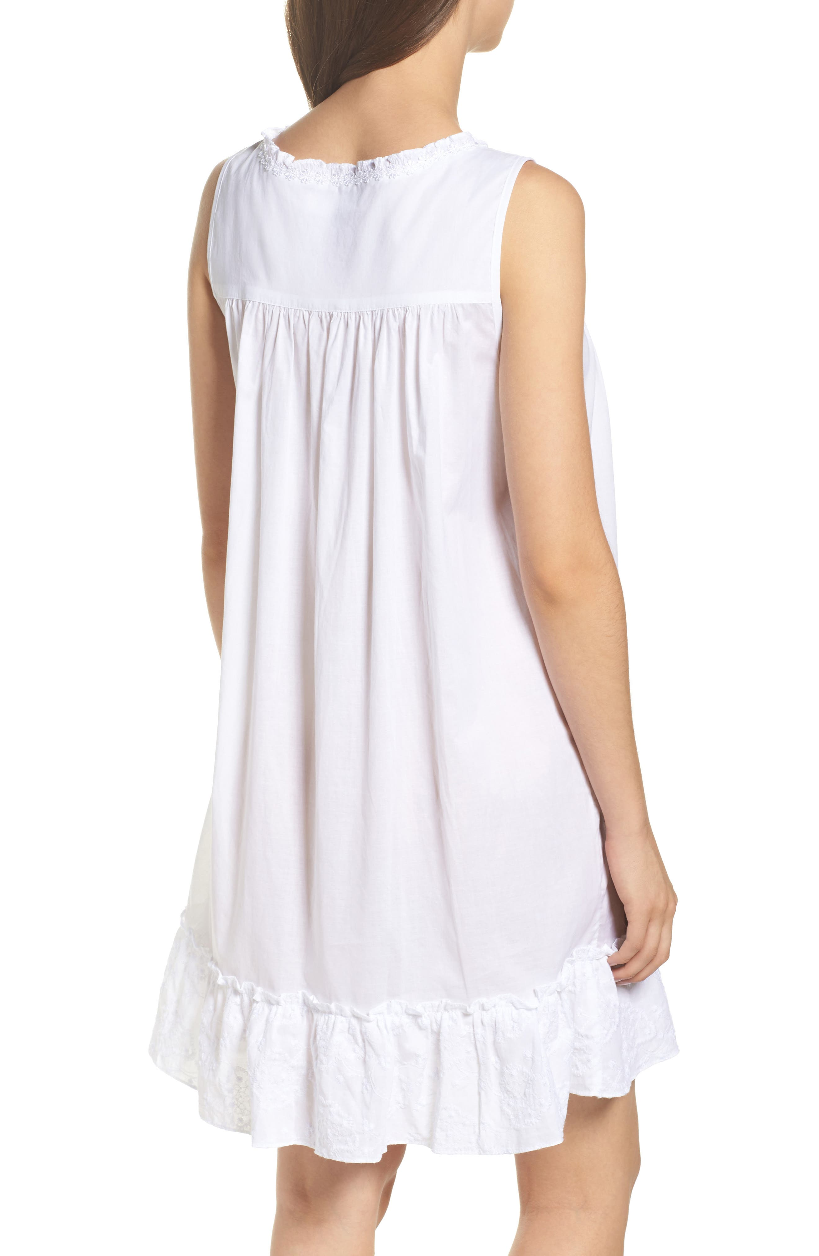 Embroidered Cotton Nightgown,                             Alternate thumbnail 2, color,                             White Floral Embroidery