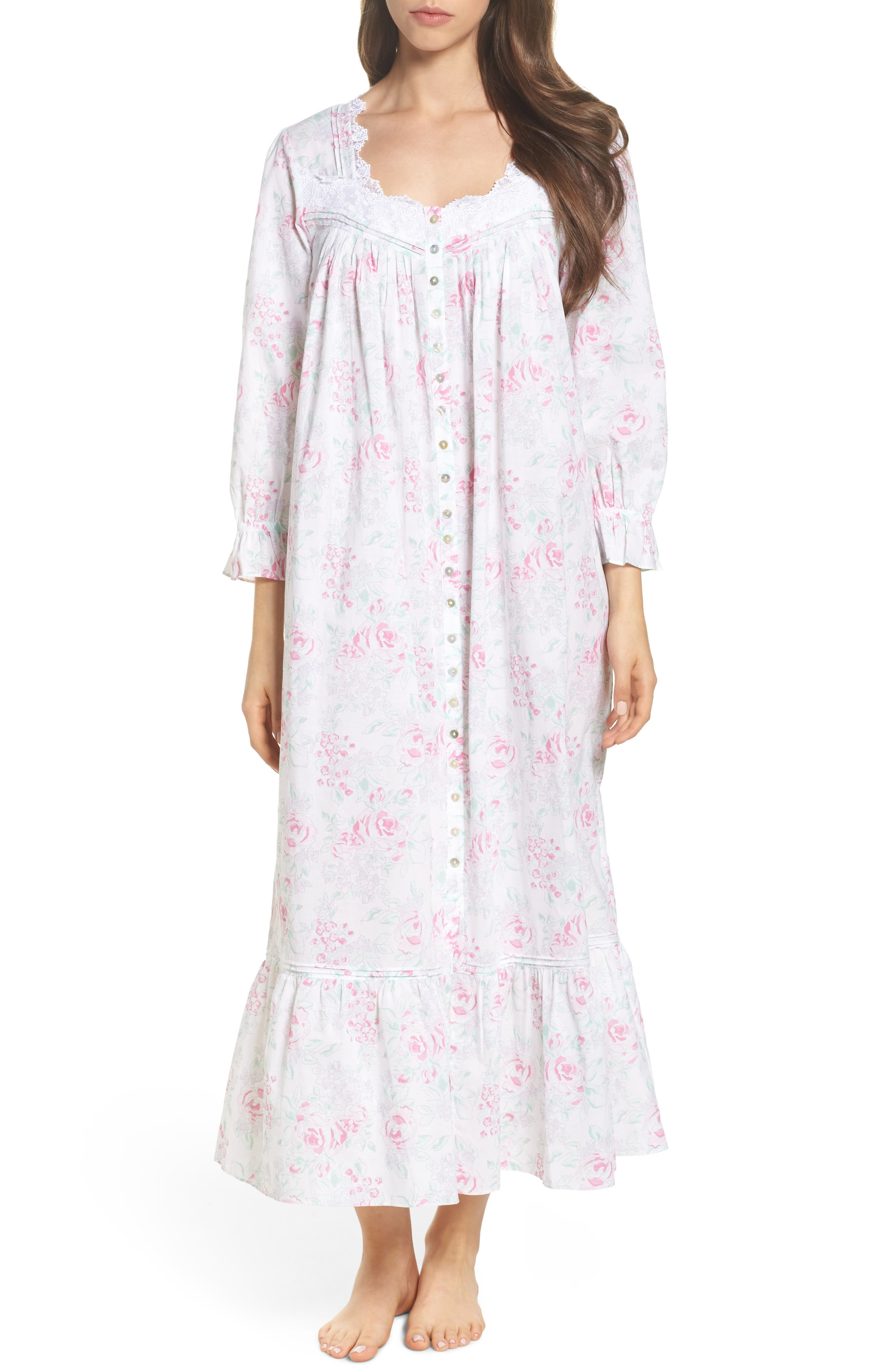 Alternate Image 1 Selected - Eileen West Button Front Cotton Nightgown