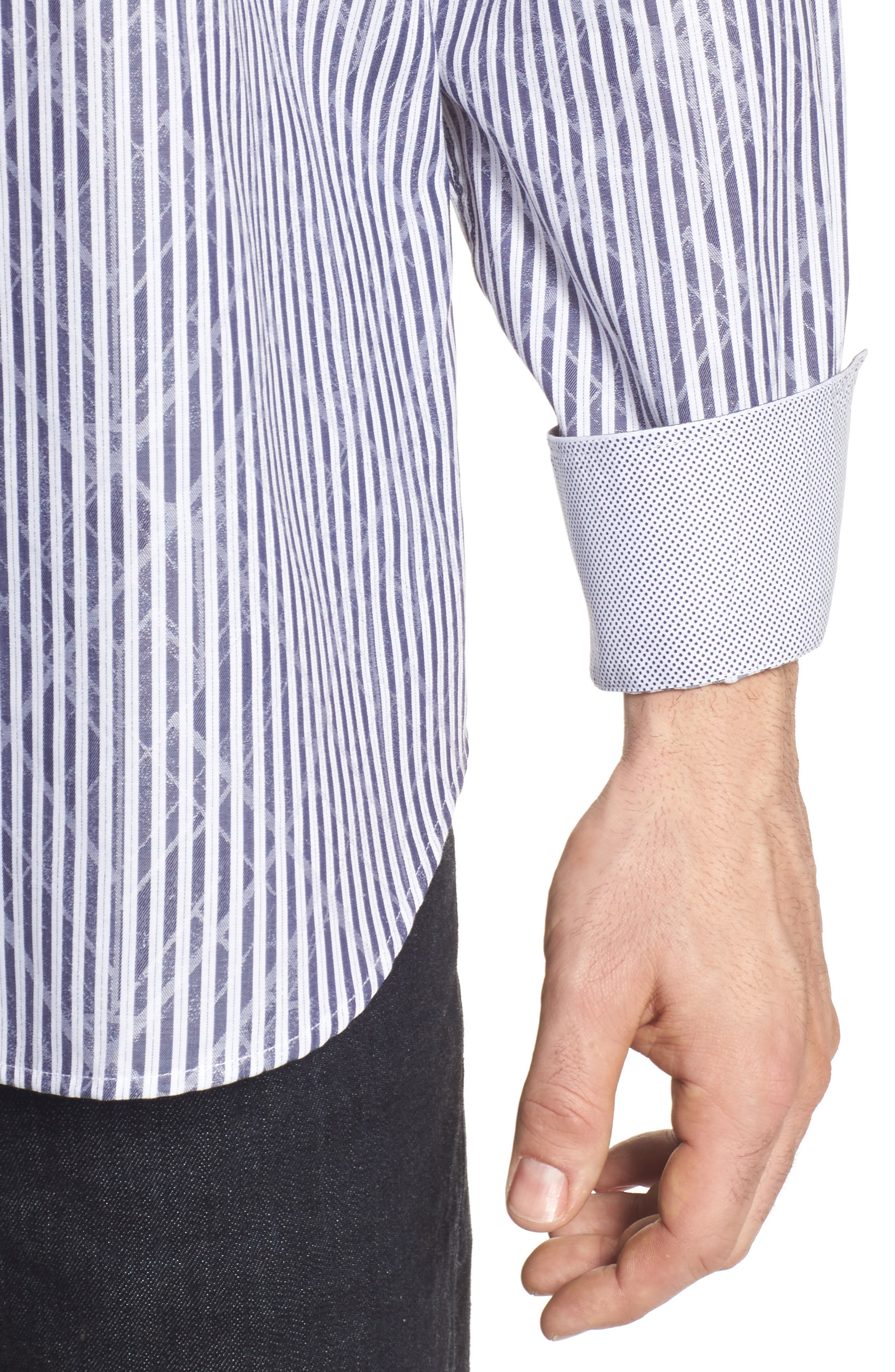 Classic Fit Stripe Sport Shirt,                             Alternate thumbnail 4, color,                             Midnight