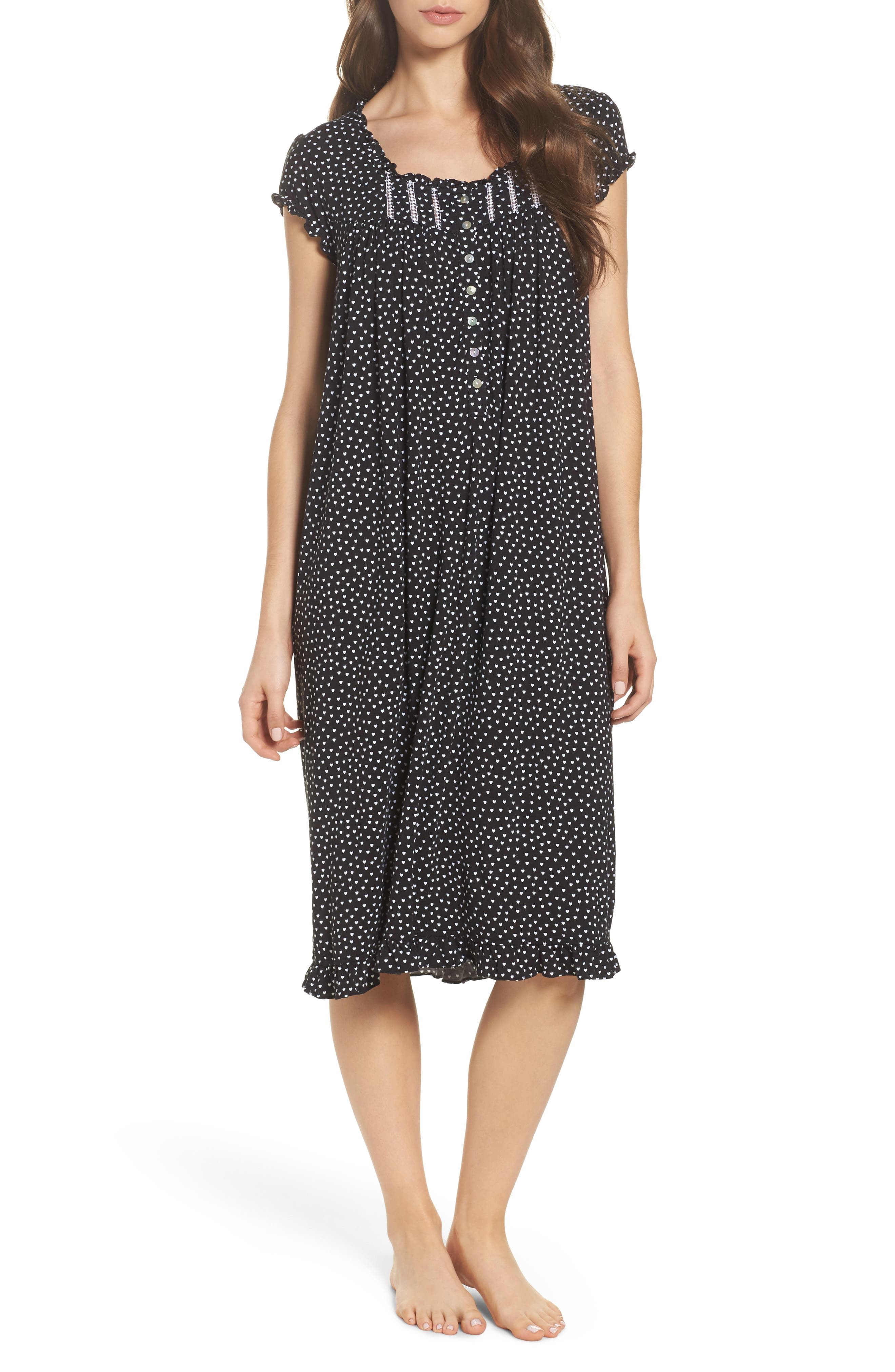 Modal Jersey Nightgown,                         Main,                         color, Black White Hearts