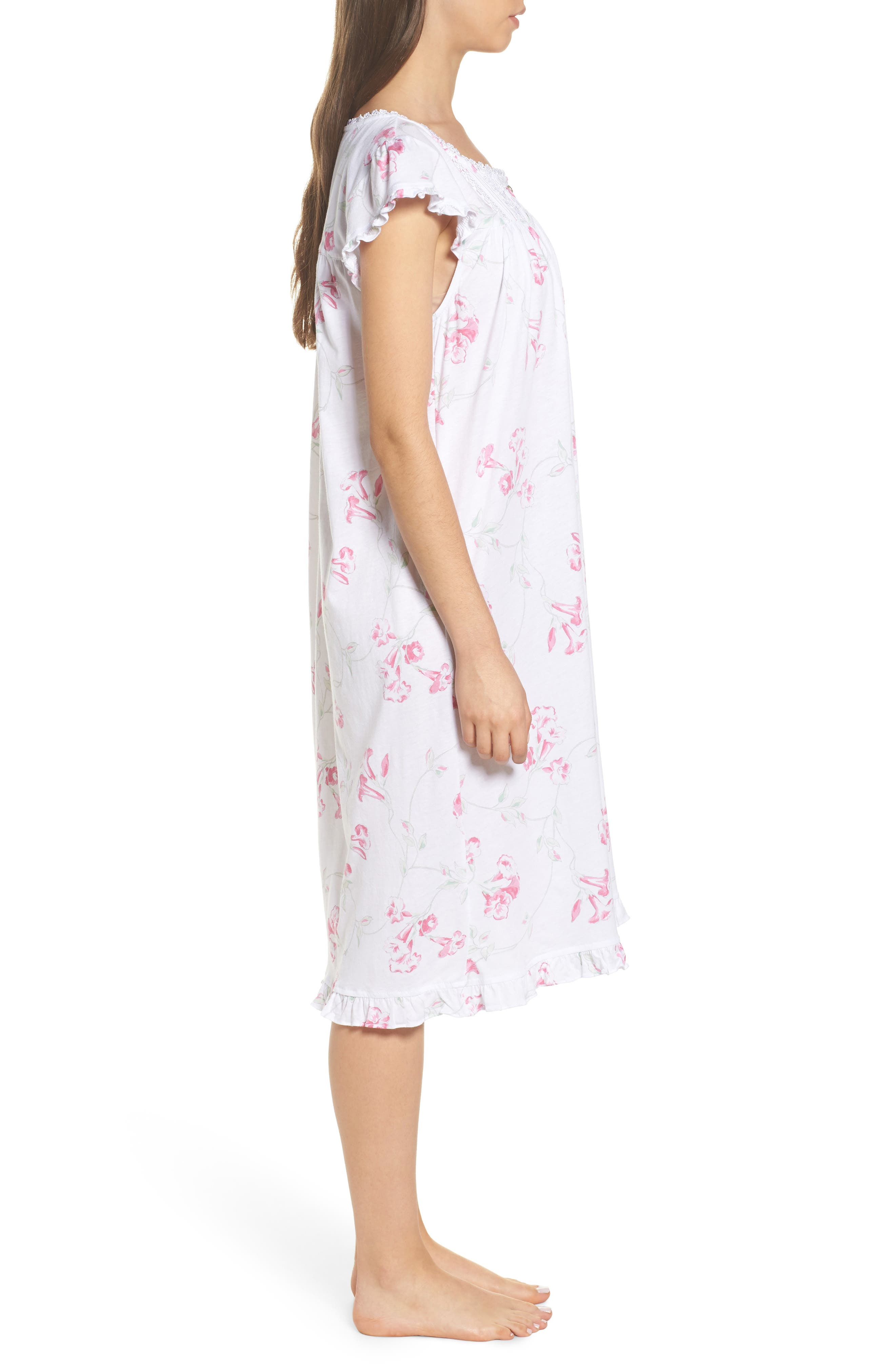 Floral Print Nightgown,                             Alternate thumbnail 3, color,                             White Floral Scroll