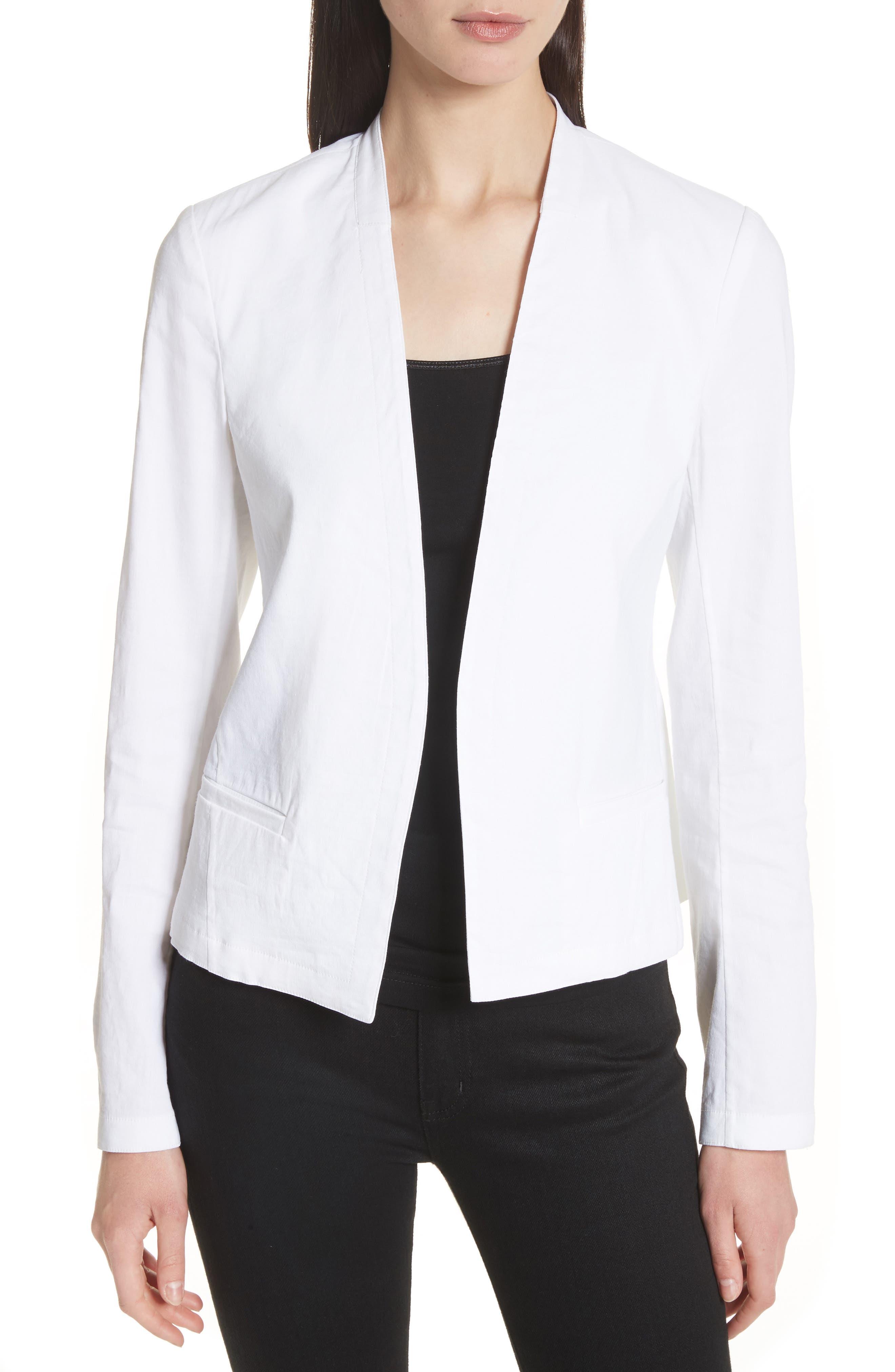 Clean Linen Blend Blazer,                             Main thumbnail 1, color,                             White