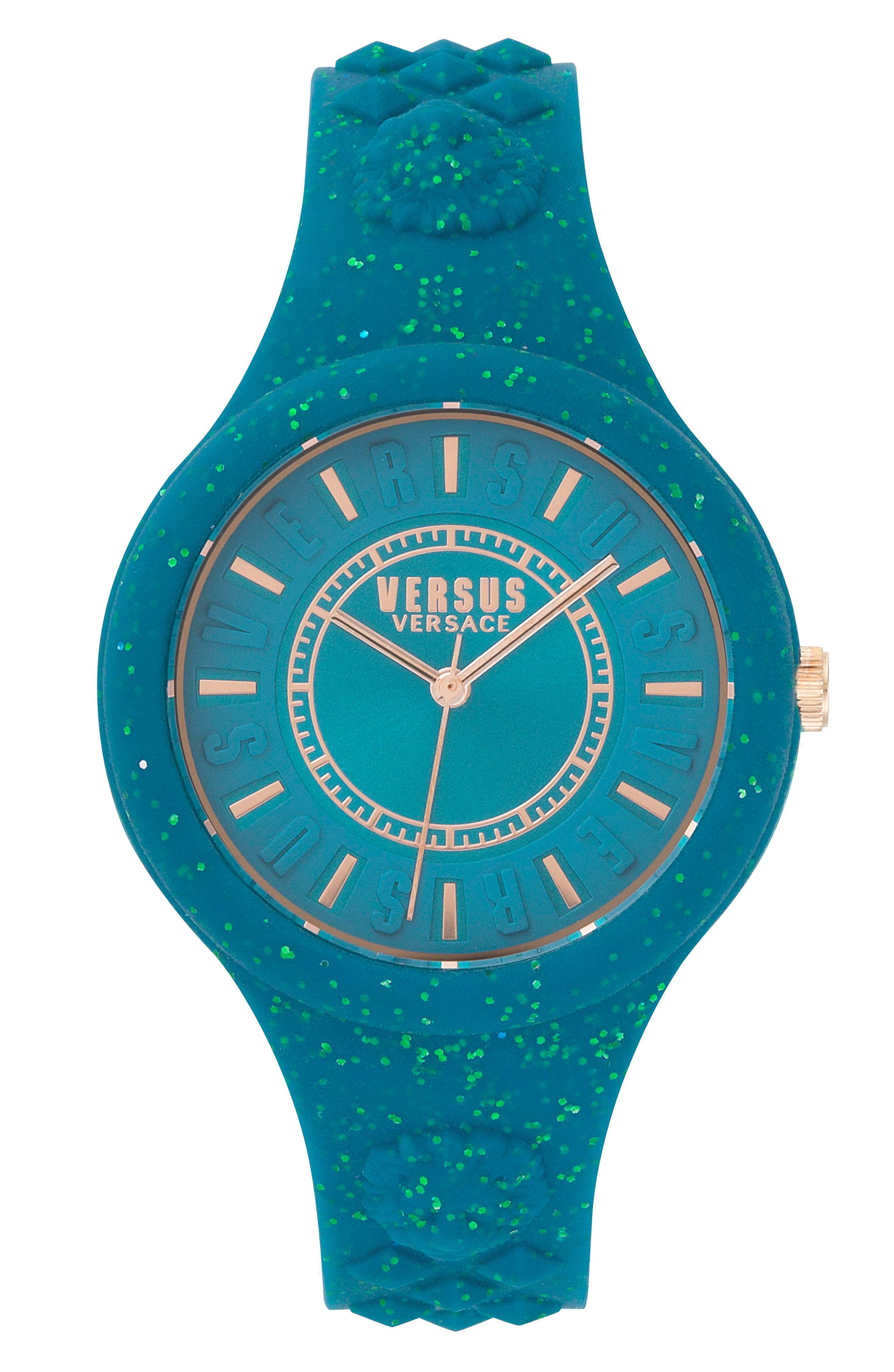 VERSUS by Versace Fire Island Silicone Strap Watch, 39mm,                             Main thumbnail 1, color,                             Green