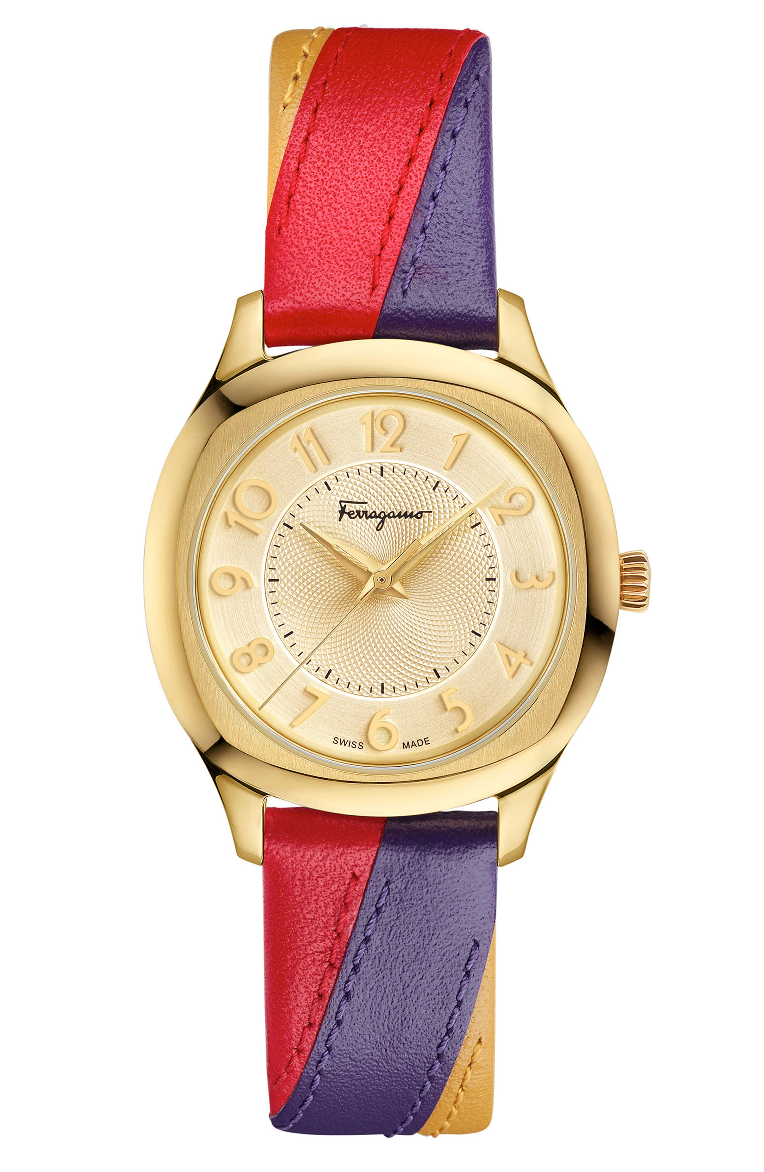 Time Square Leather Strap Watch, 36mm,                             Main thumbnail 1, color,                             Multi/ Gold