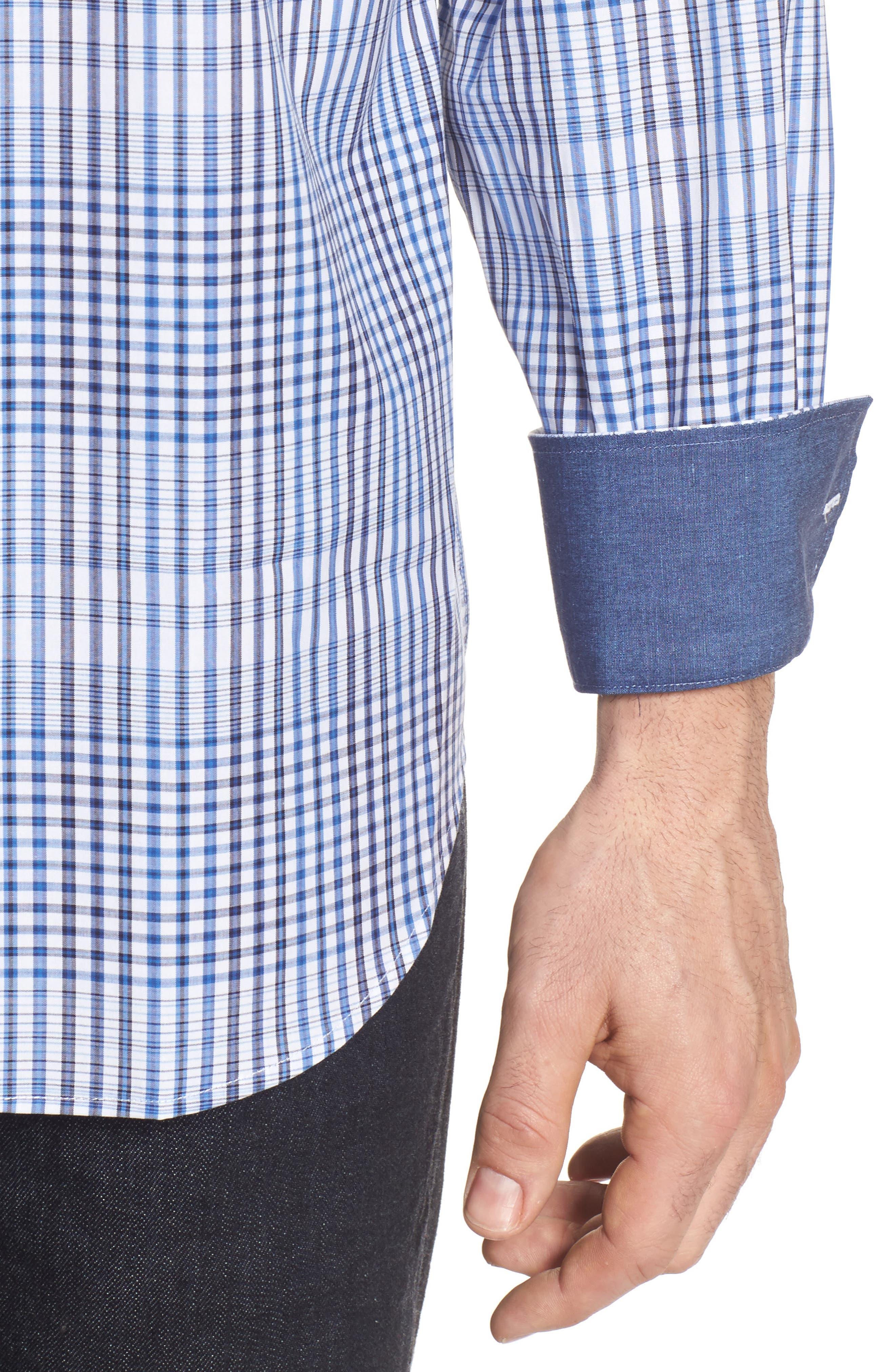 Classic Fit Plaid Sport Shirt,                             Alternate thumbnail 4, color,                             Classic Blue