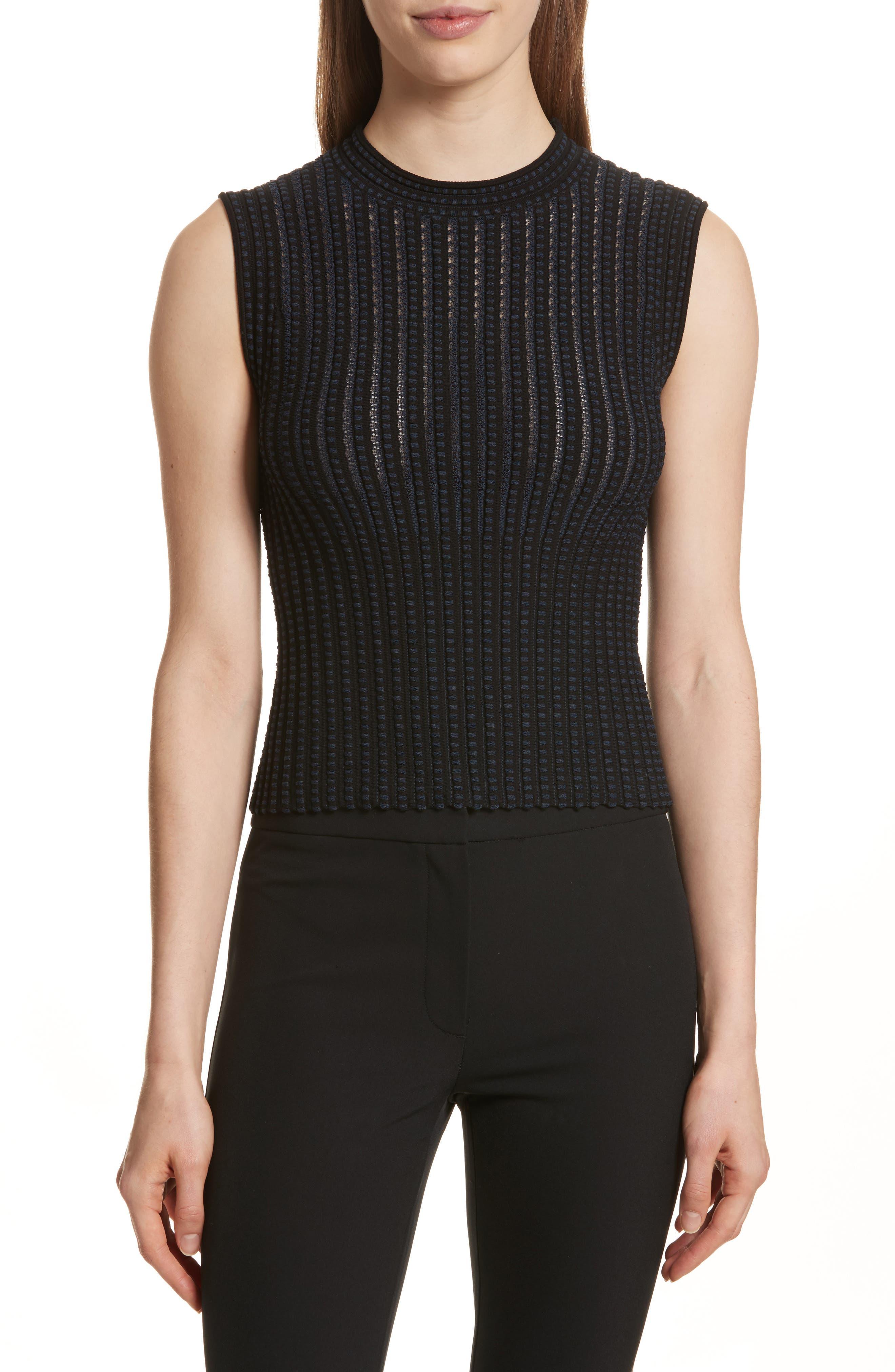 Check Pattern Knit Shell,                         Main,                         color, Black/ Deep Navy