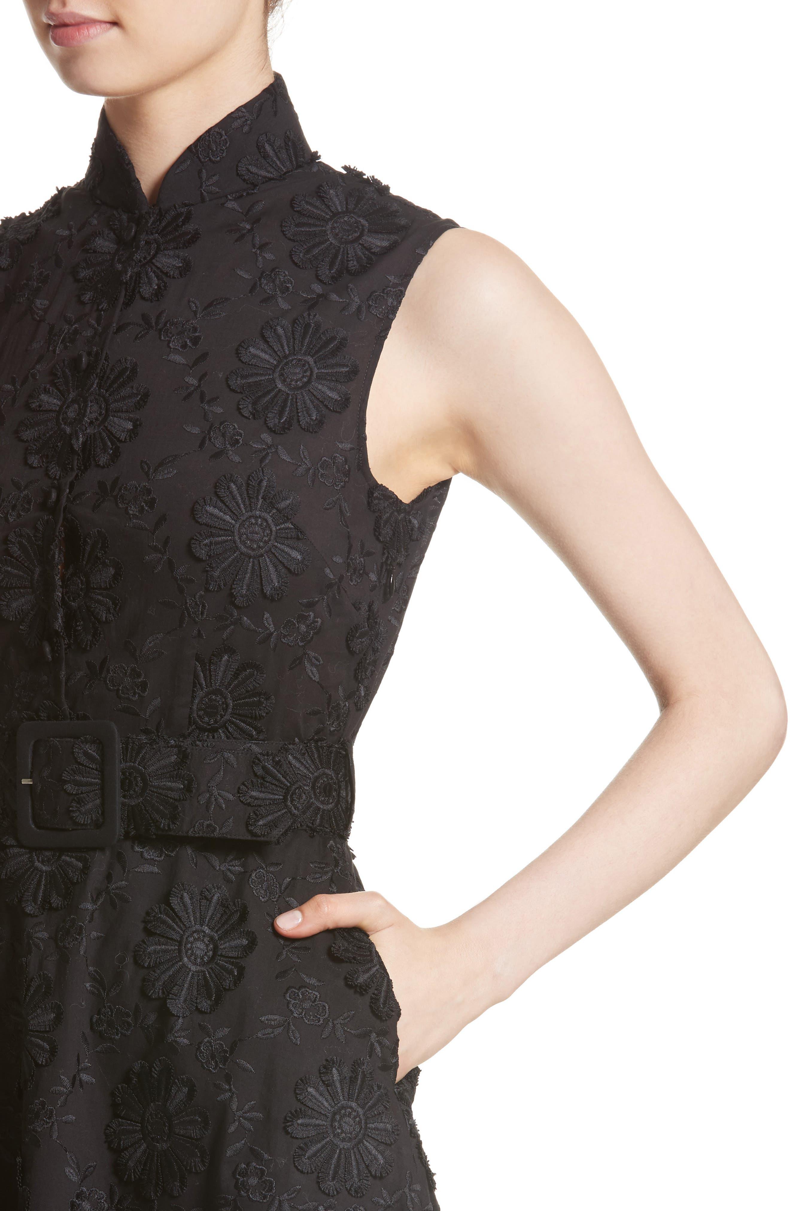 Floral Embroidered Dress,                             Alternate thumbnail 4, color,                             Black