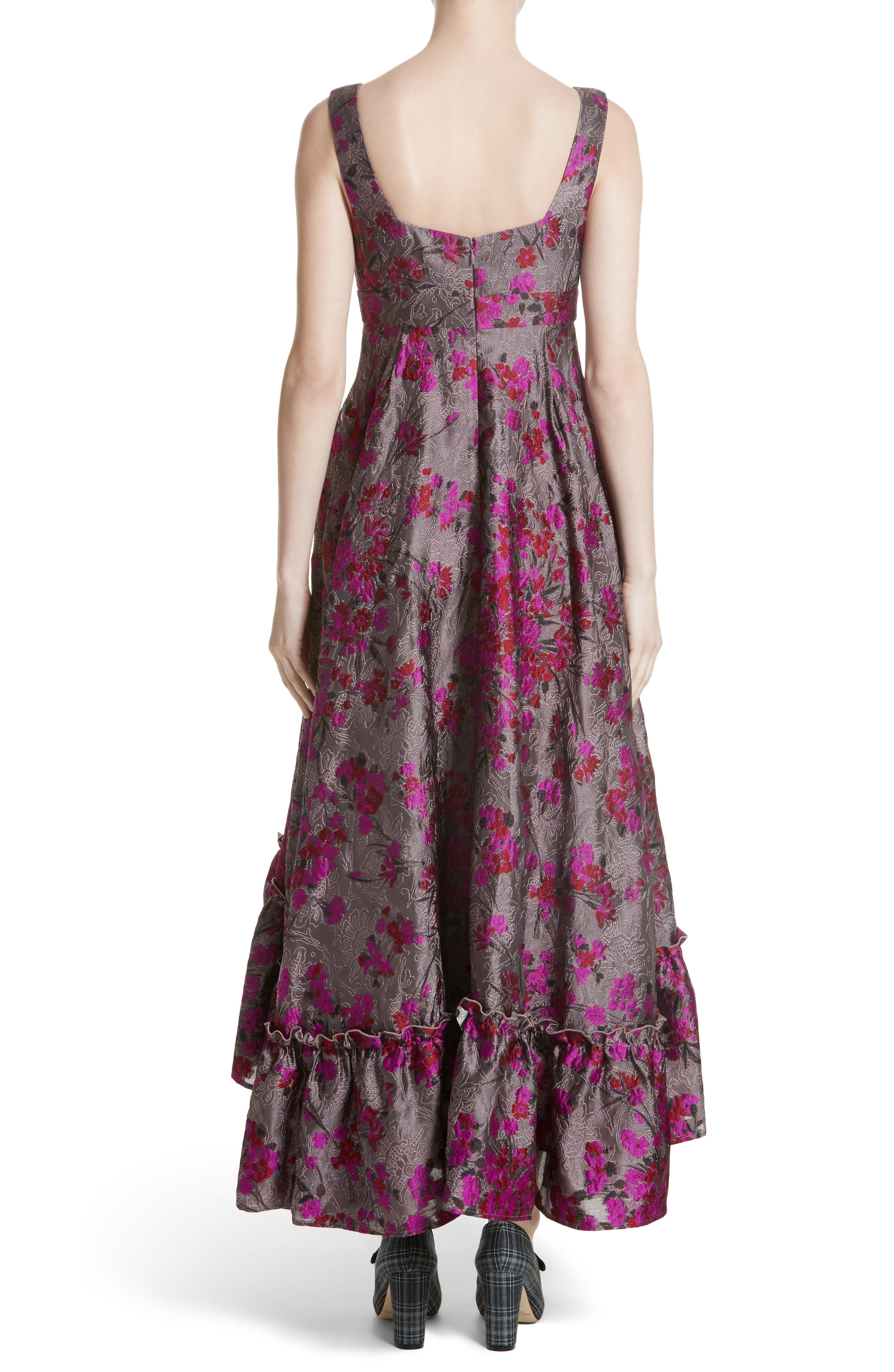 Metallic Jacquard Midi Dress,                             Alternate thumbnail 3, color,                             Magenta