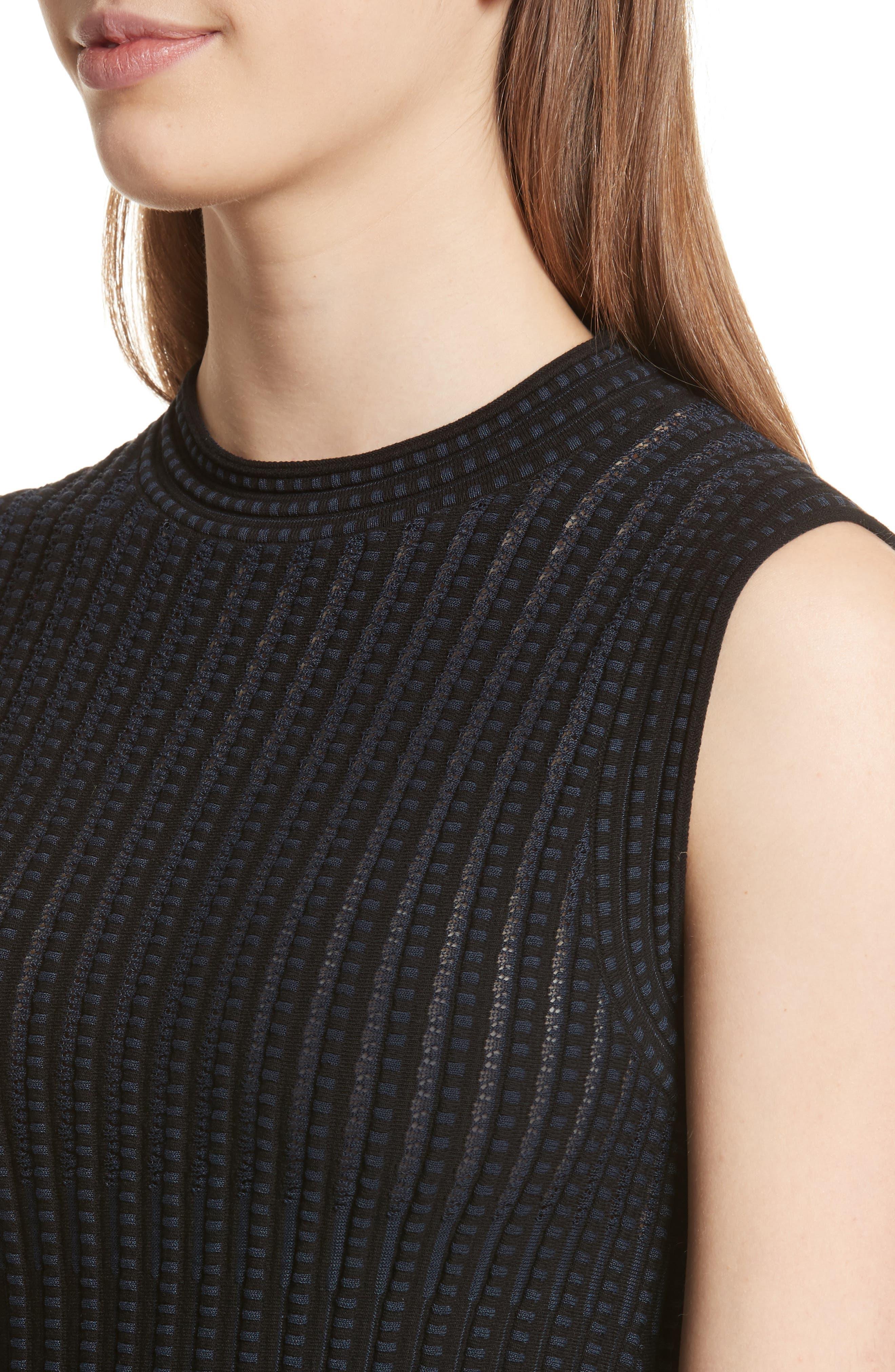 Check Pattern Knit Shell,                             Alternate thumbnail 4, color,                             Black/ Deep Navy