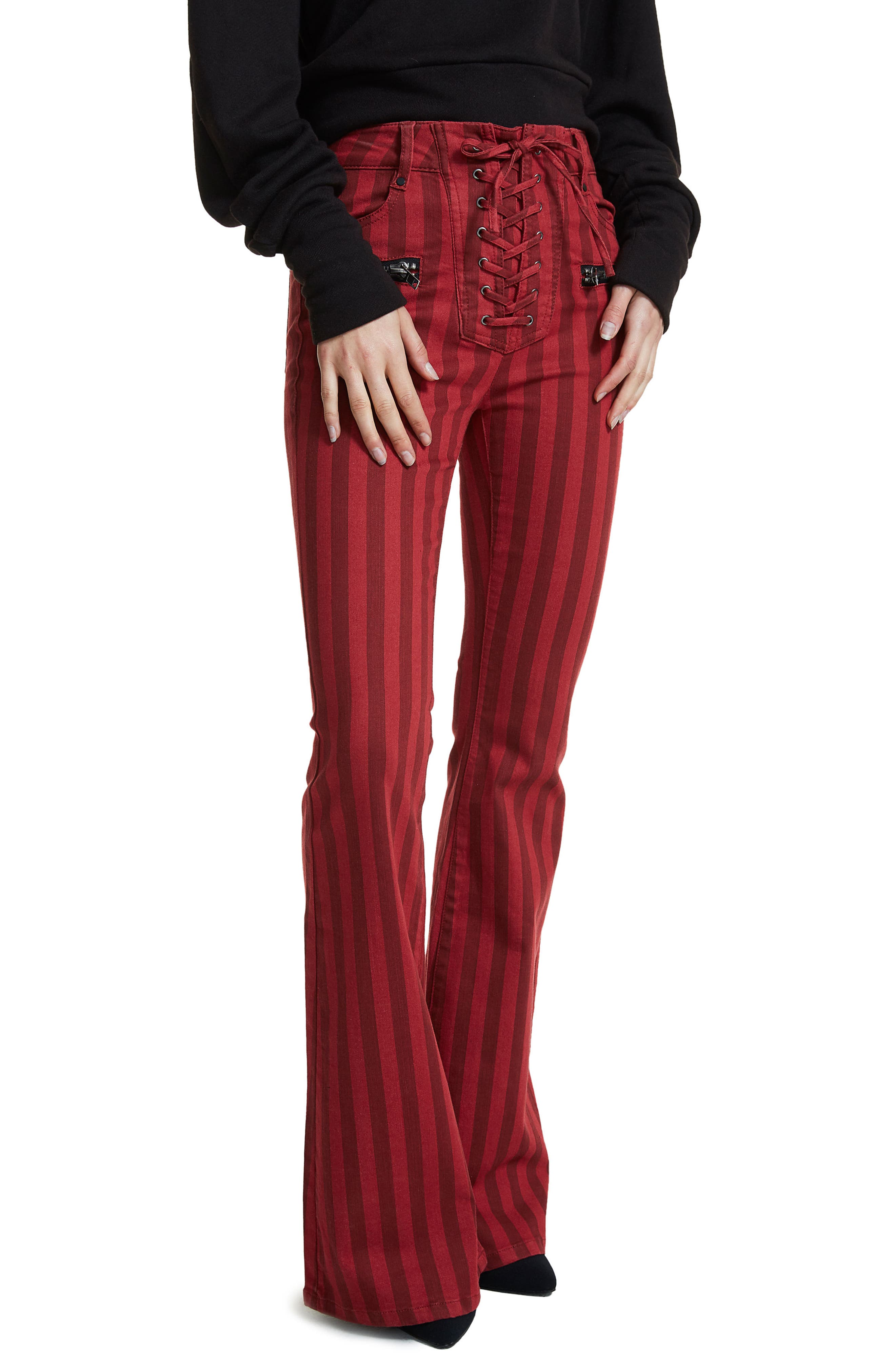 Alternate Image 2  - AFRM Claire Lace-Up Flare Leg Jeans (Red Stripe)
