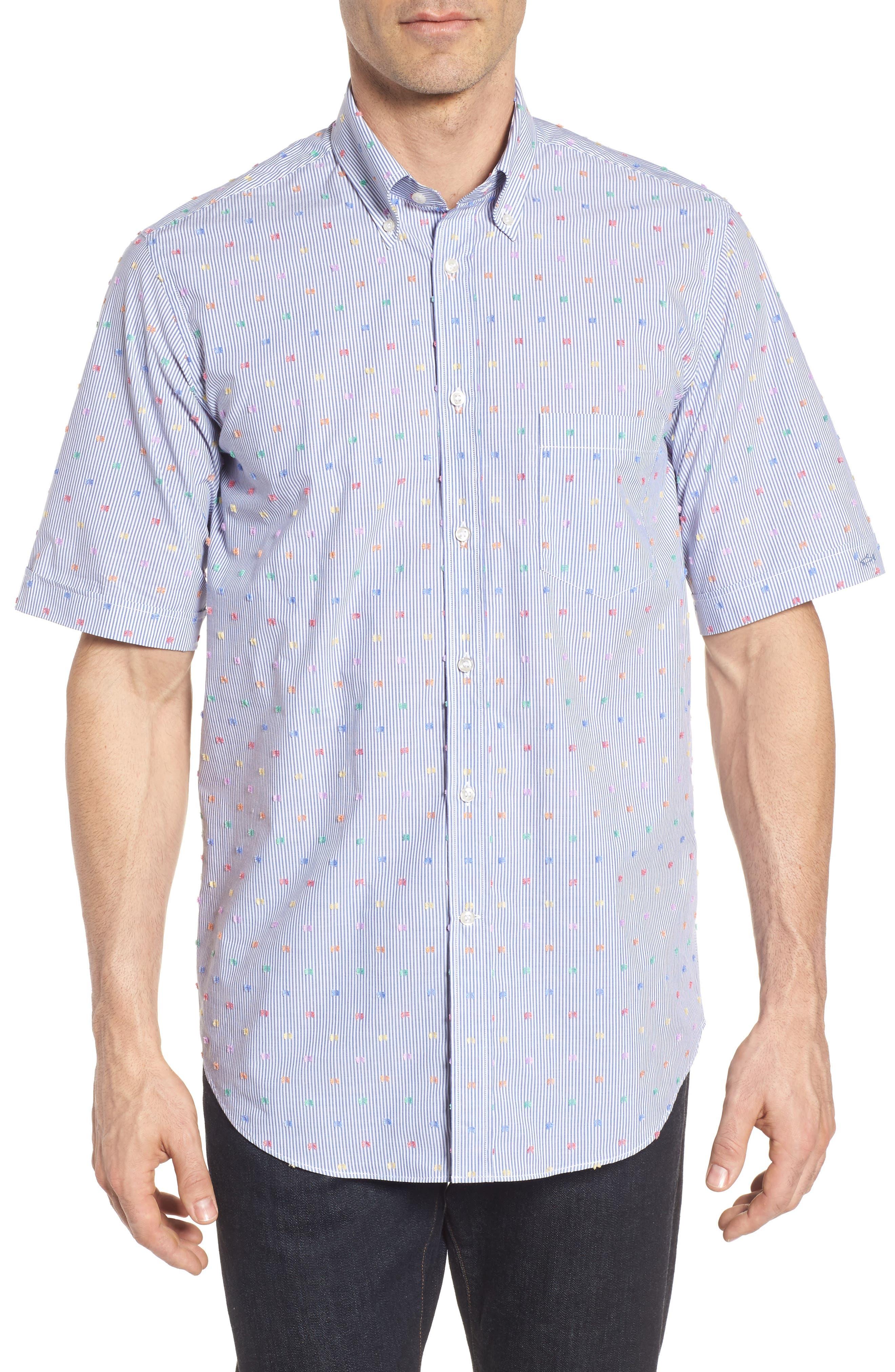 Paul&Shark Fin Stripe Sport Shirt,                             Main thumbnail 1, color,                             Blue/ White/ Multi