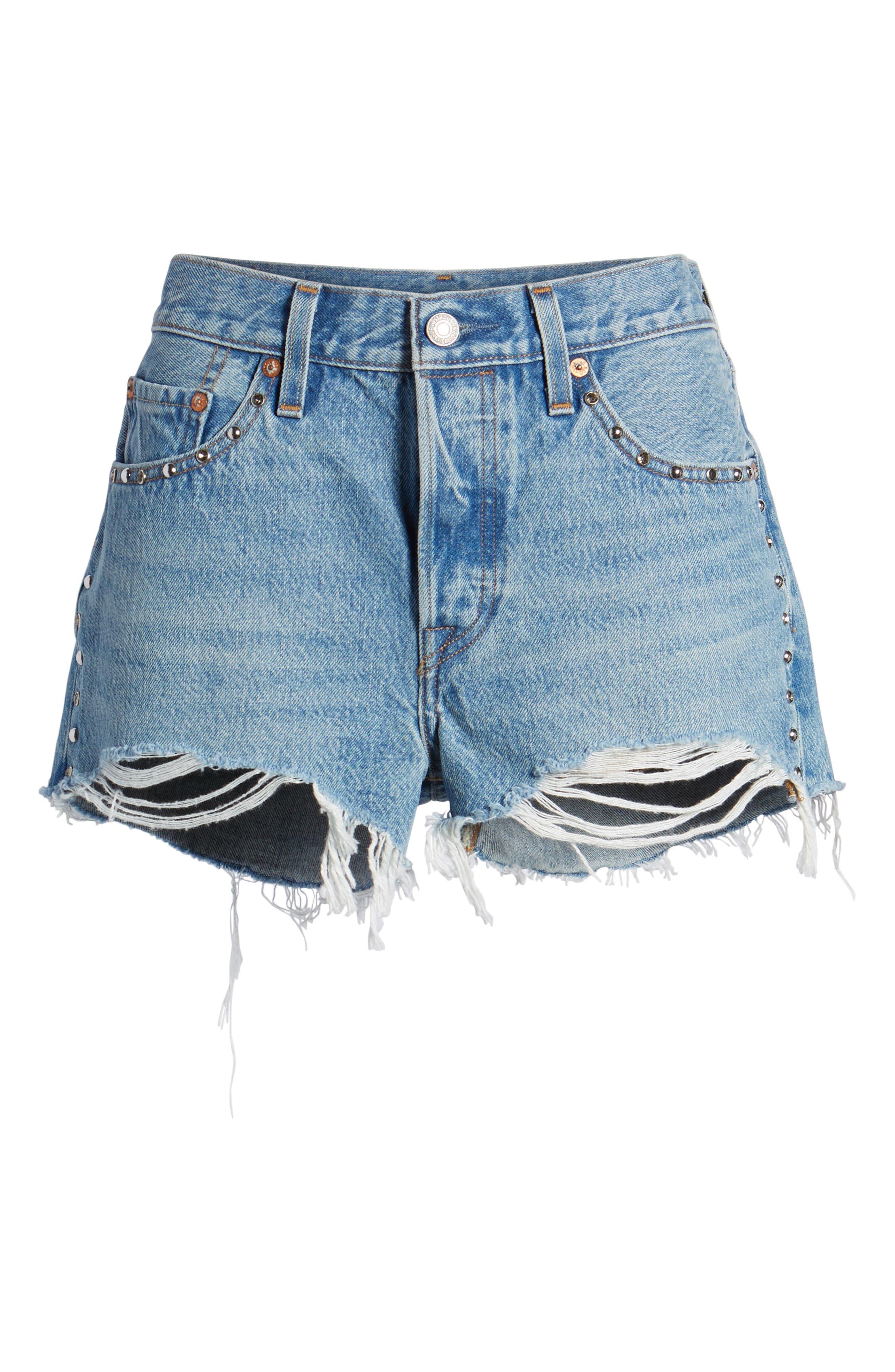 Alternate Image 6  - Levi's® 501® Distressed Cutoff Denim Shorts (Hotline Bling)