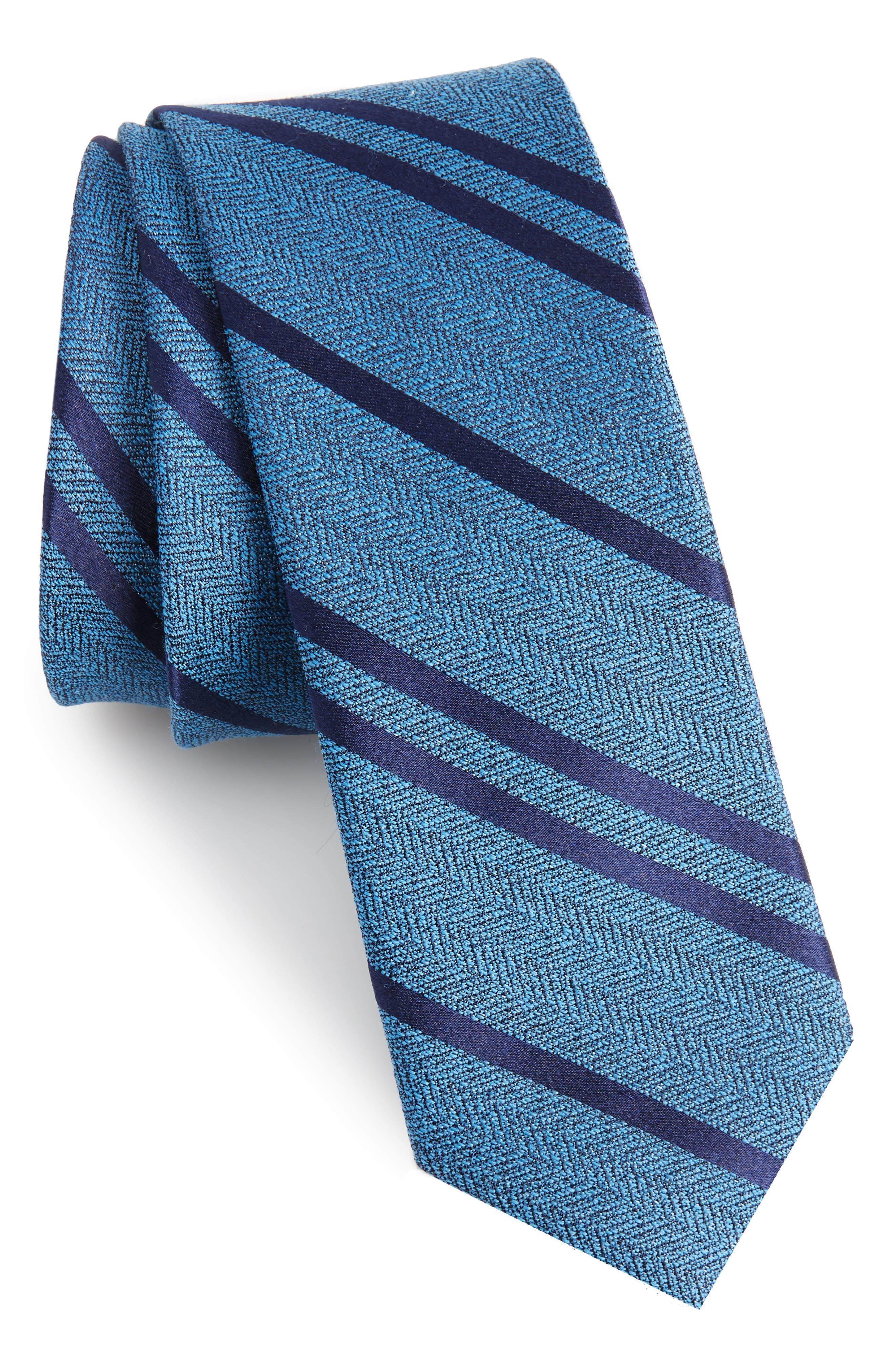 Path Stripe Wool & Silk Tie,                         Main,                         color, Serene Blue