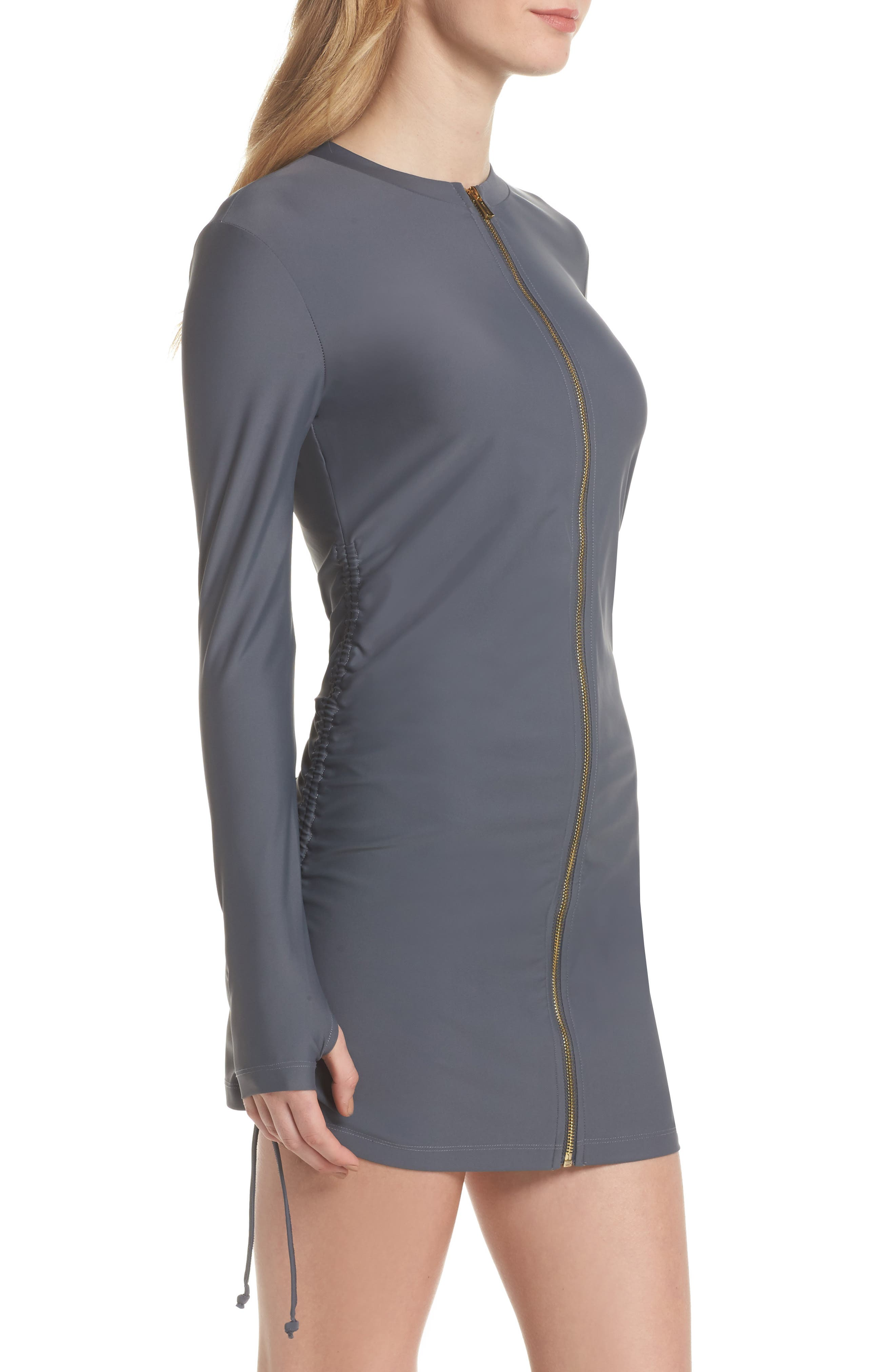 Zip Cover-Up Swim Dress,                             Alternate thumbnail 3, color,                             Grey