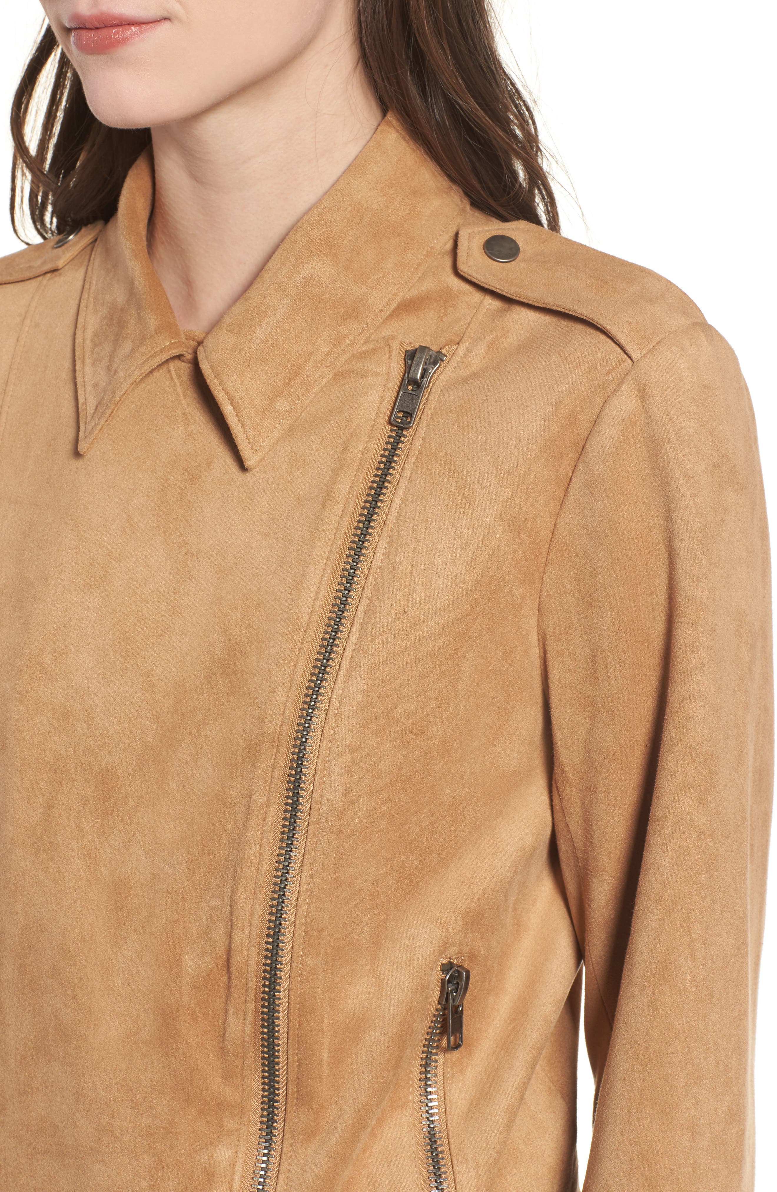 Nathan Faux Suede Jacket,                             Alternate thumbnail 4, color,                             Whiskey