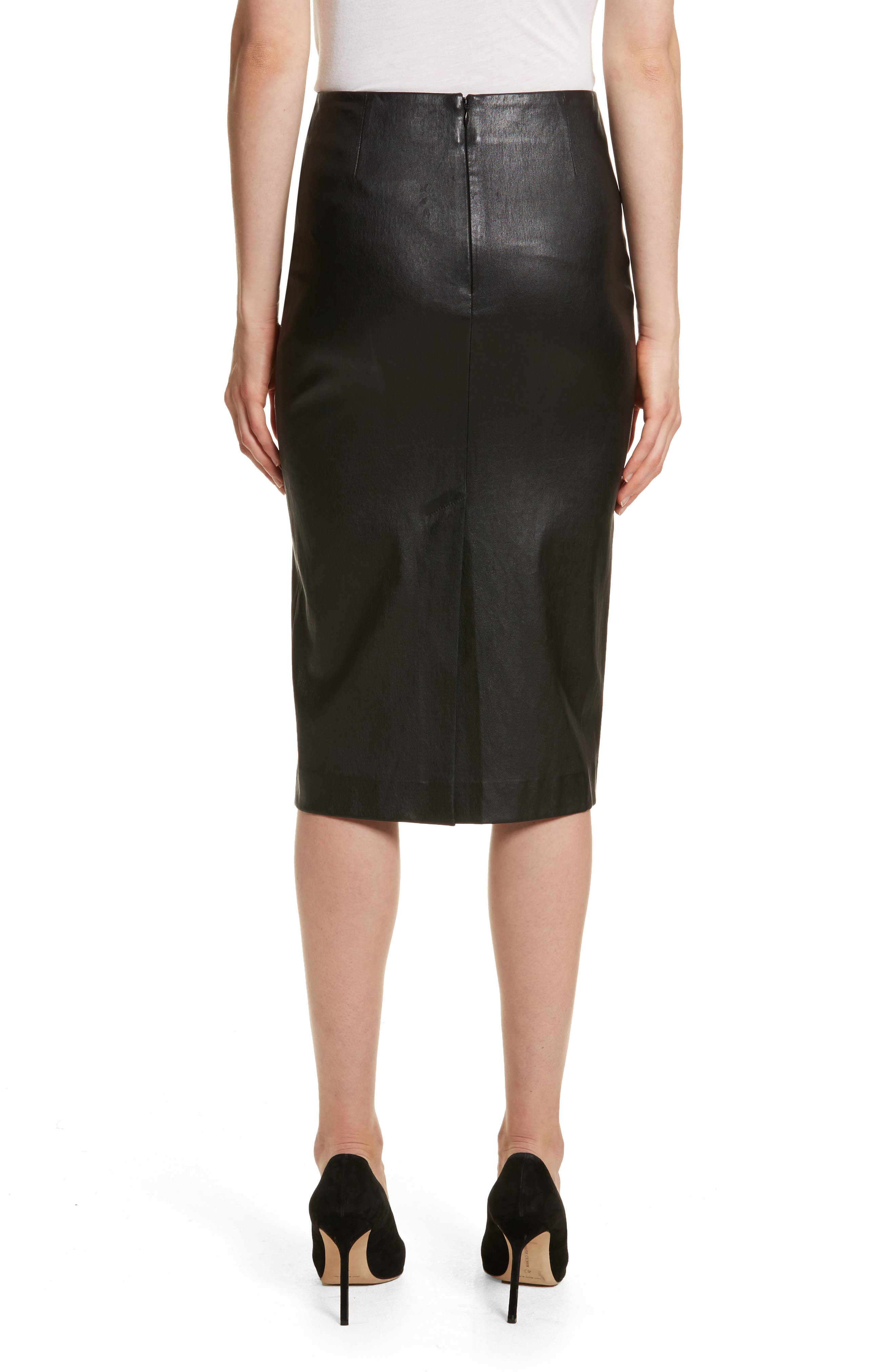 Leather Skinny Pencil Skirt,                             Alternate thumbnail 2, color,                             Black