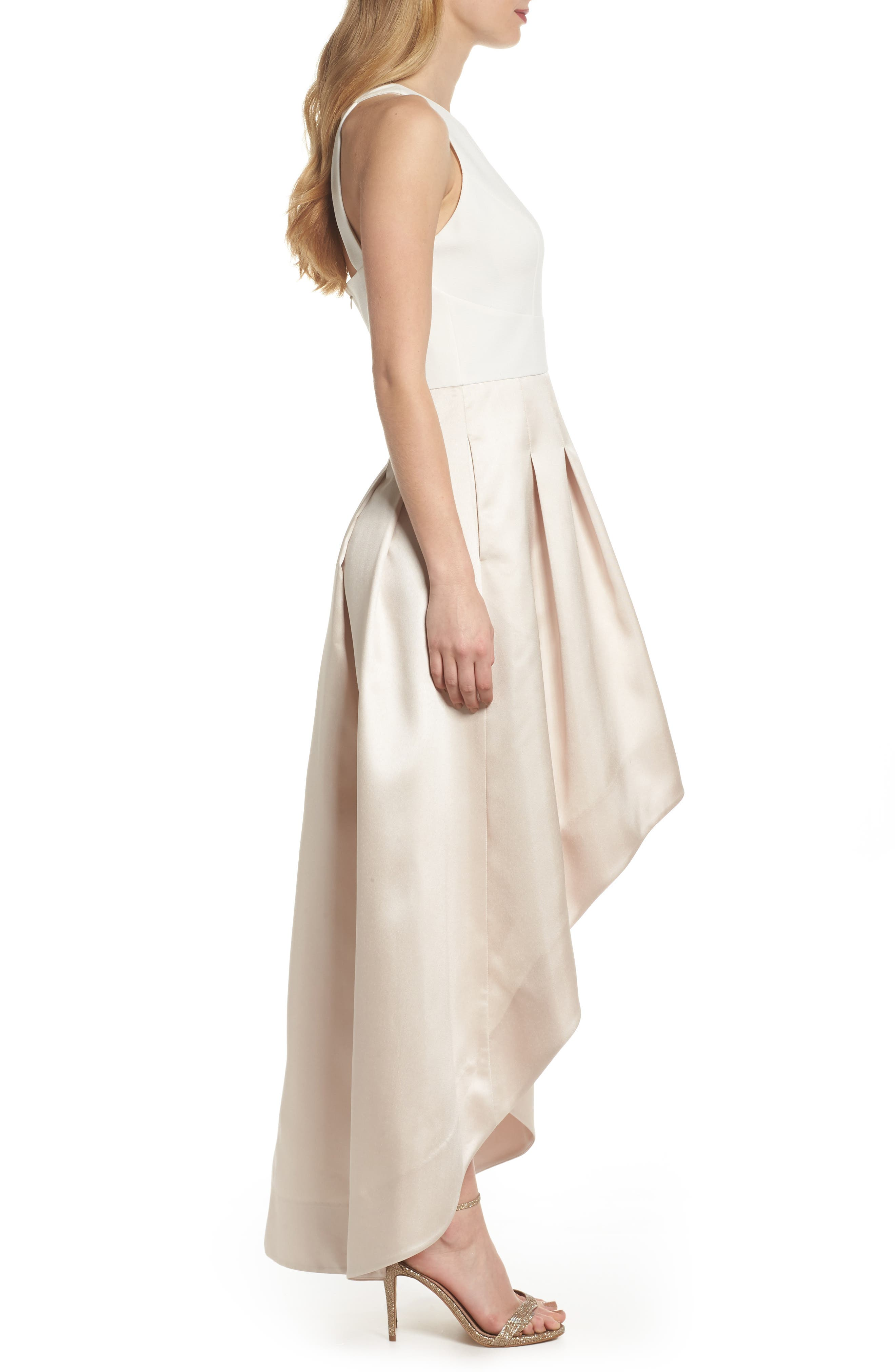 High/Low Gown,                             Alternate thumbnail 3, color,                             White Champagne