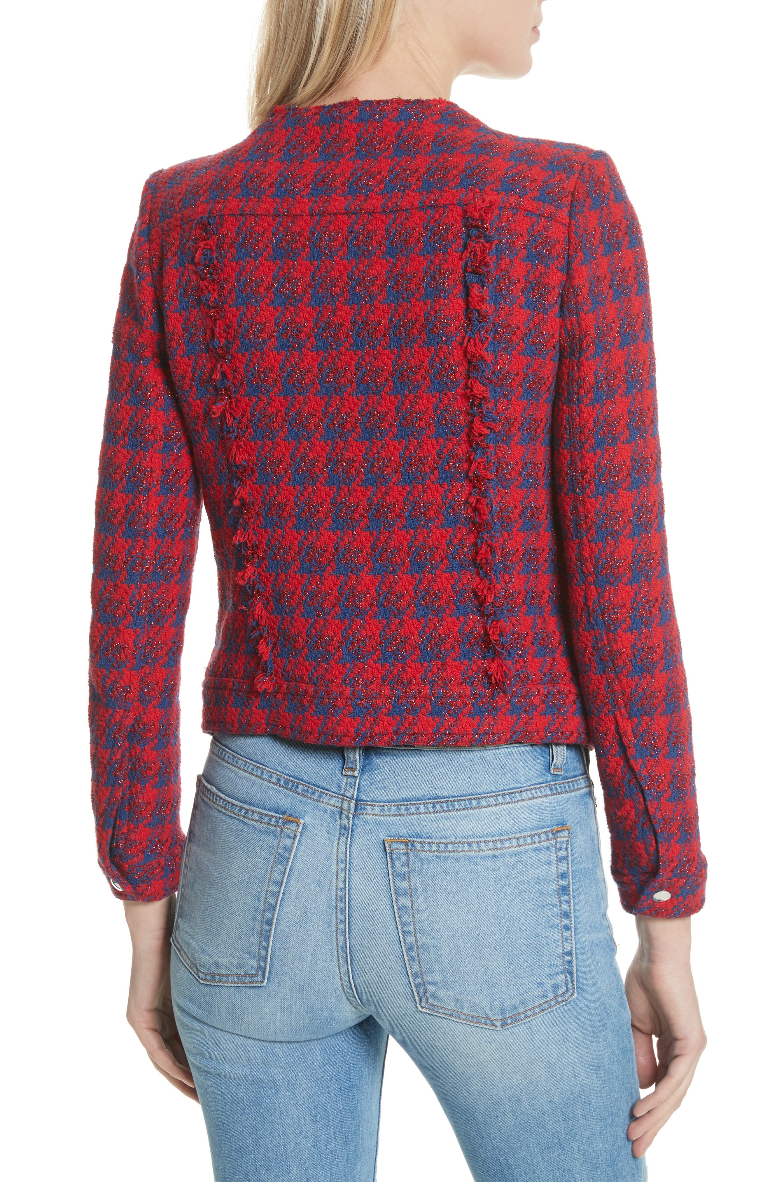 Quilombre Houndstooth Tweed Jacket,                             Alternate thumbnail 2, color,                             Red/ Blue