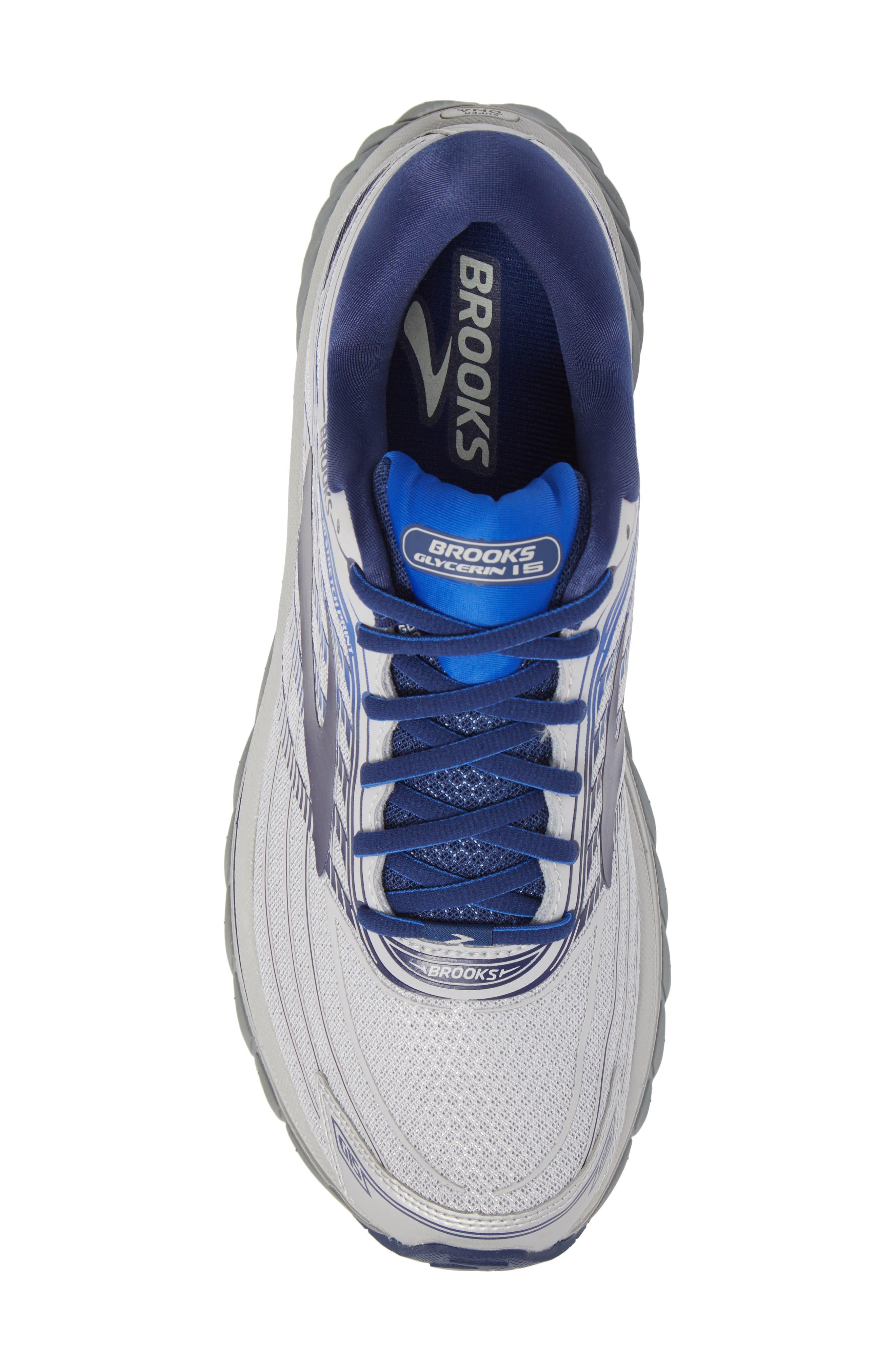 Glycerin 15 Running Shoe,                             Alternate thumbnail 5, color,                             Silver/ Navy/ Blue