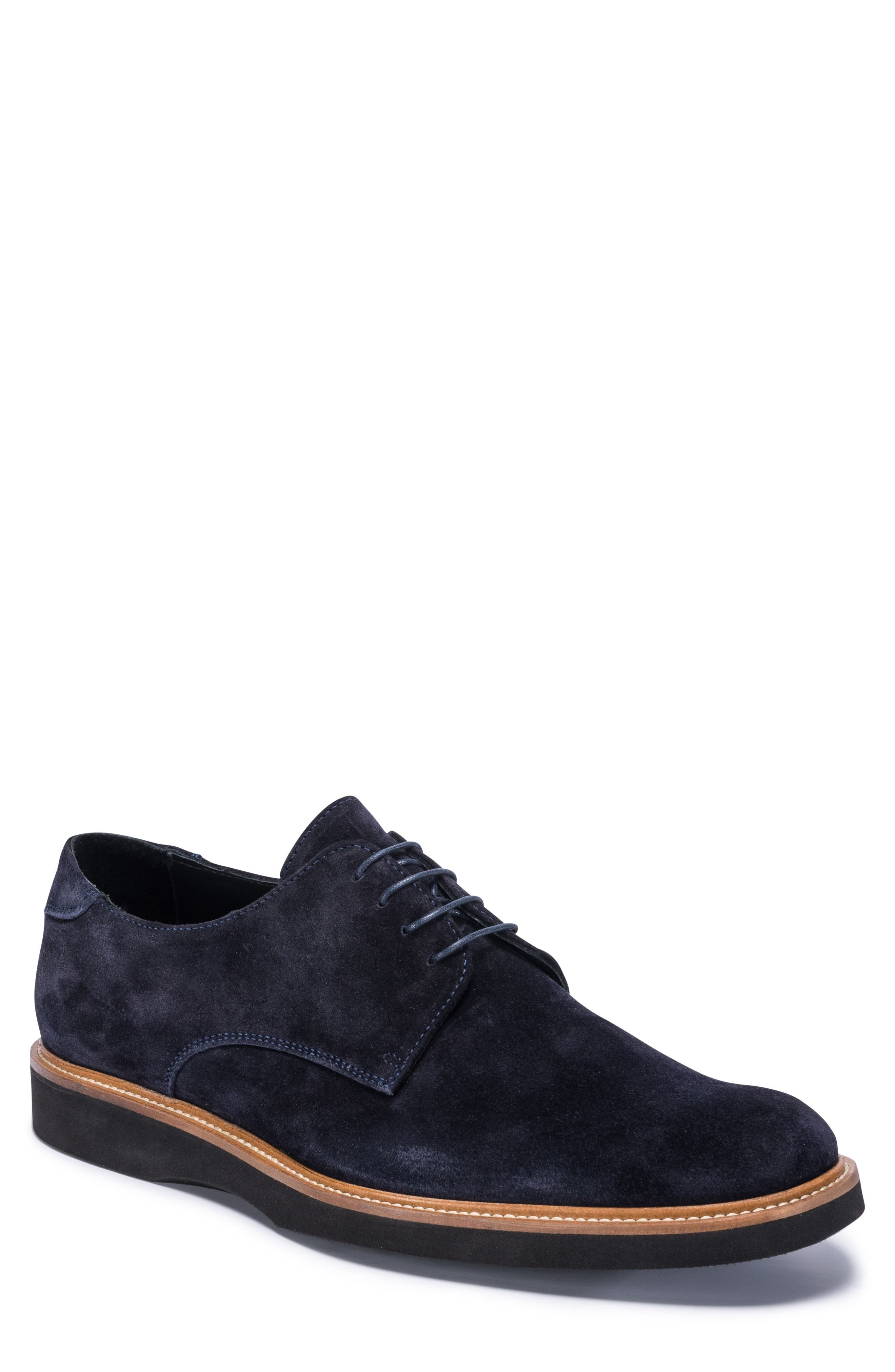 Siena Plain Toe Derby,                             Main thumbnail 1, color,                             Blue Suede