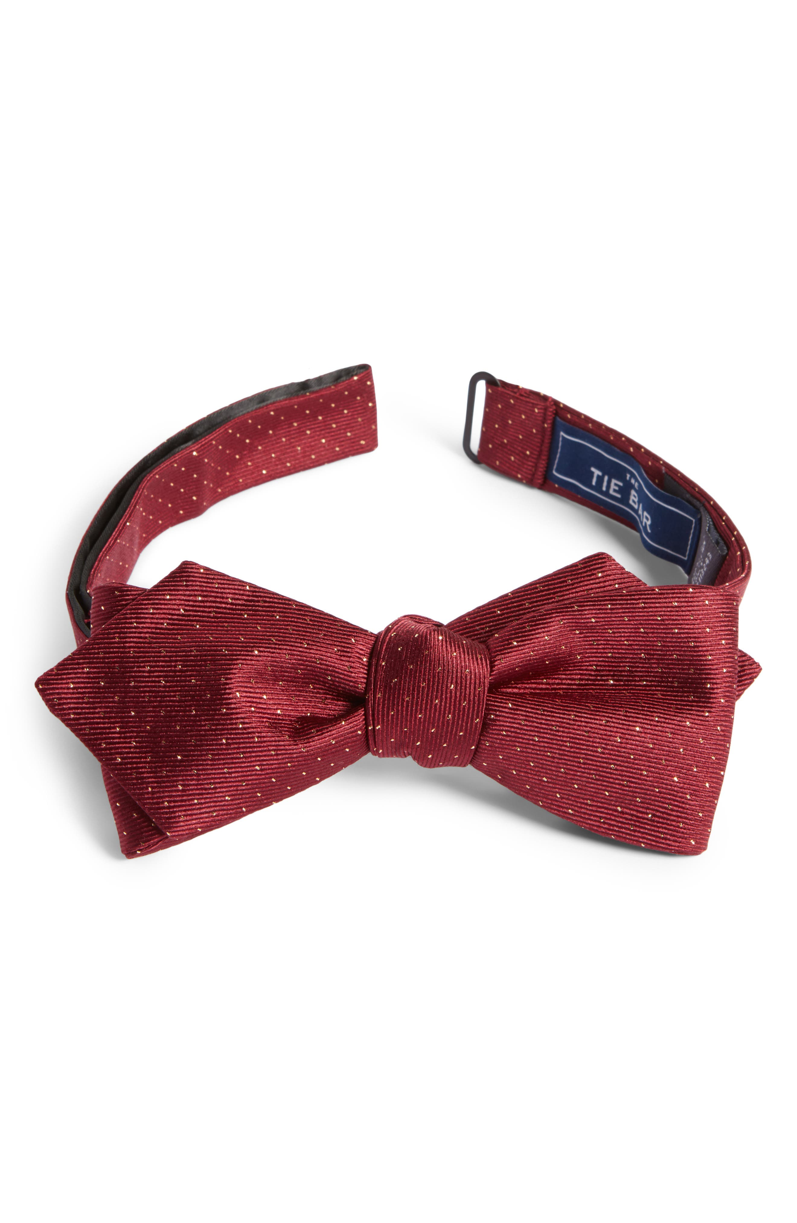 Flicker Self Bow Tie,                             Main thumbnail 1, color,                             Burgundy