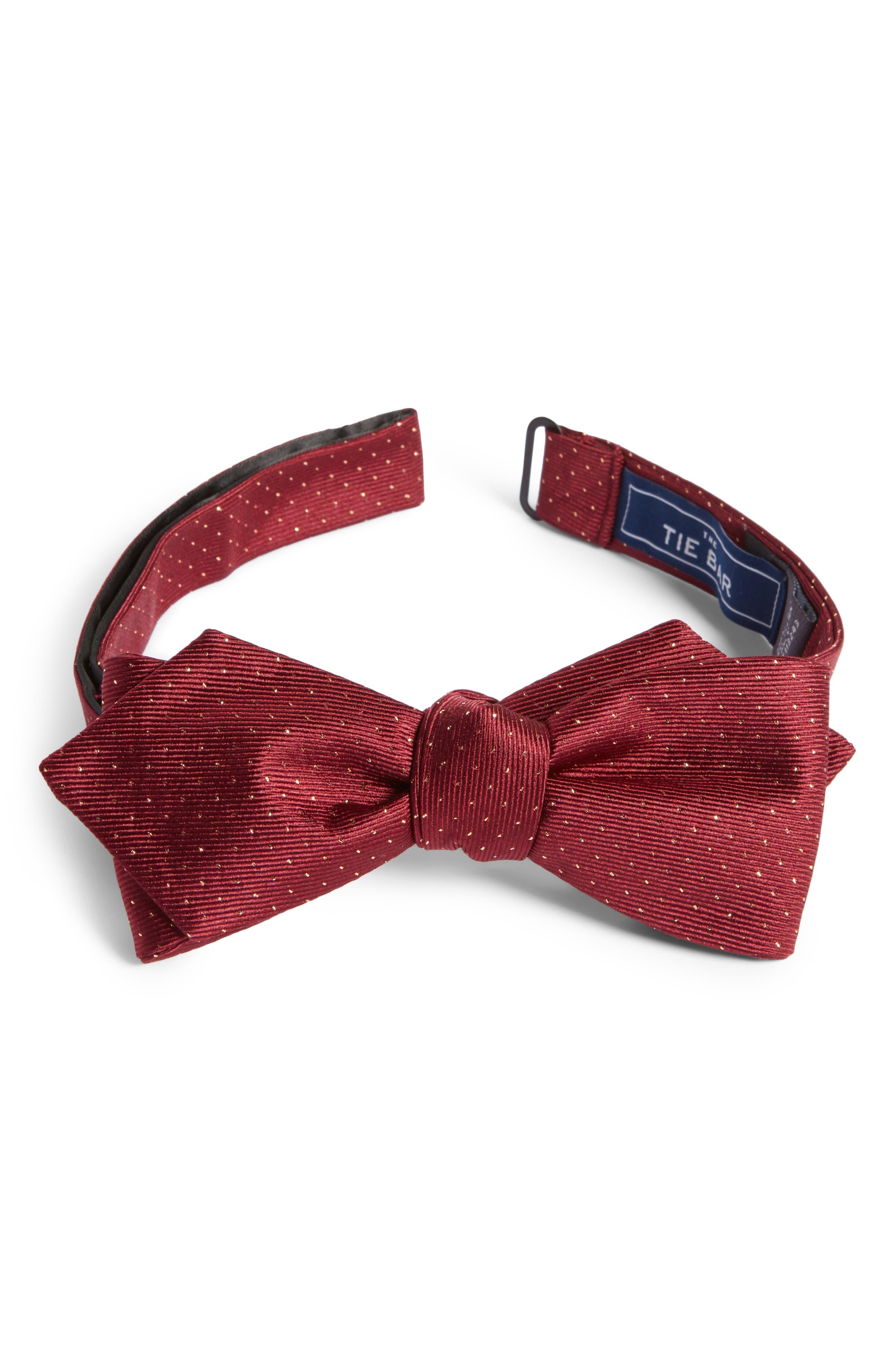 Flicker Self Bow Tie,                         Main,                         color, Burgundy