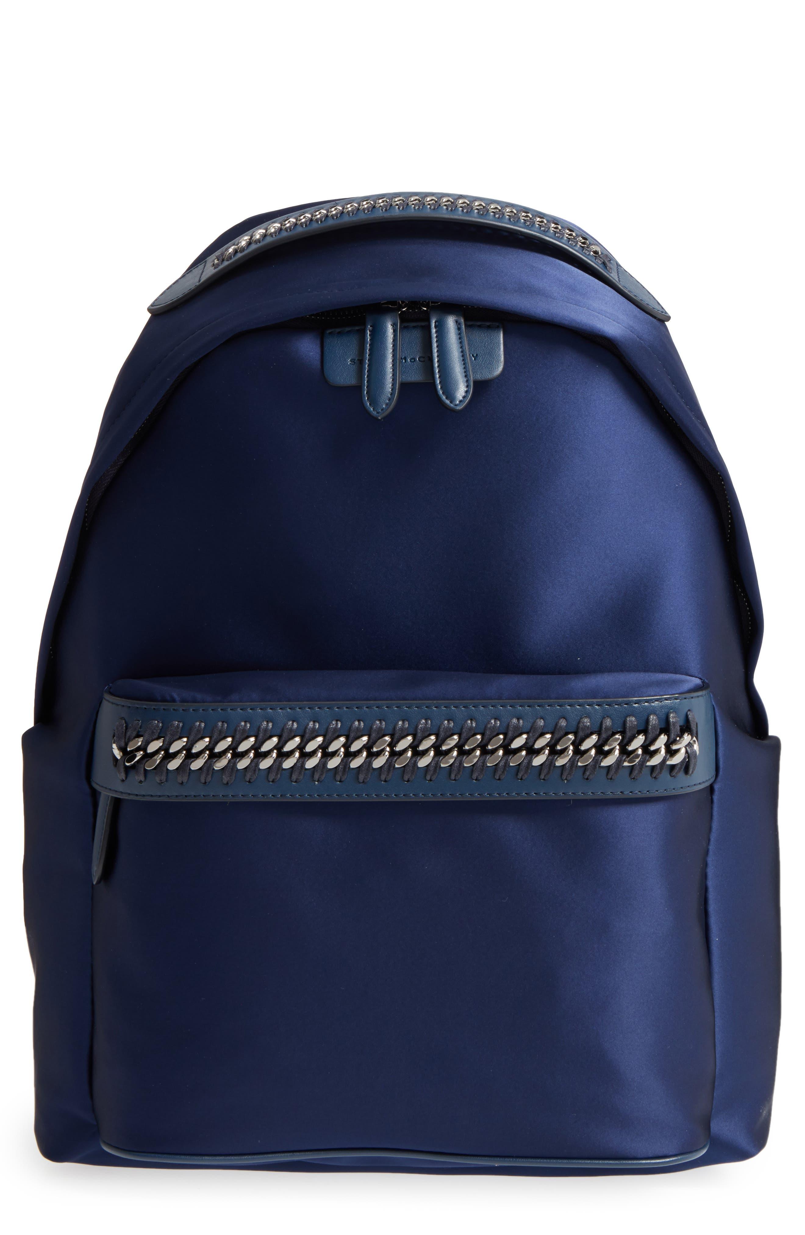 Logo Embossed Satin Backpack,                         Main,                         color, Navy