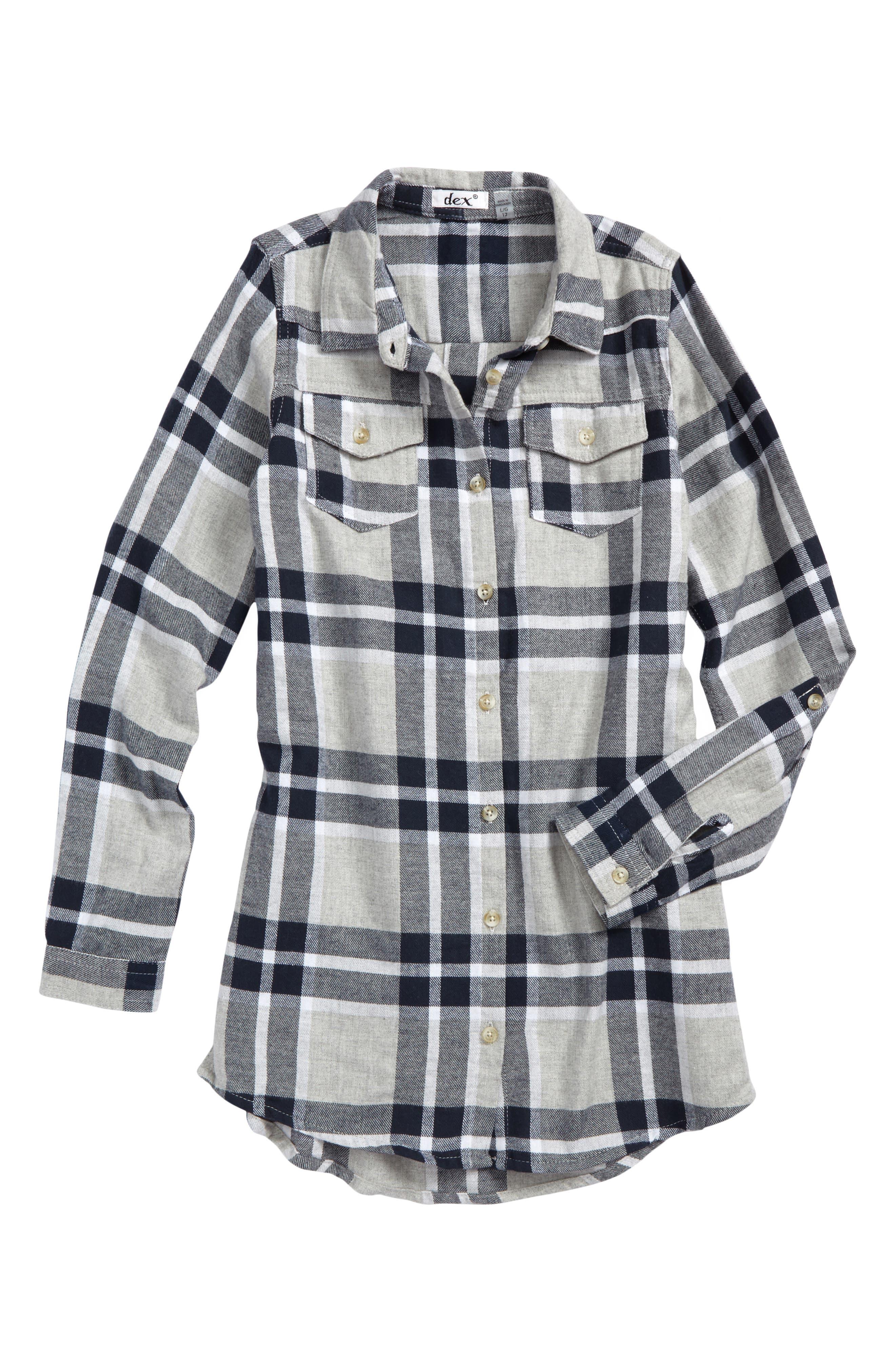 Plaid Flannel Shirt,                         Main,                         color, Navy Plaid