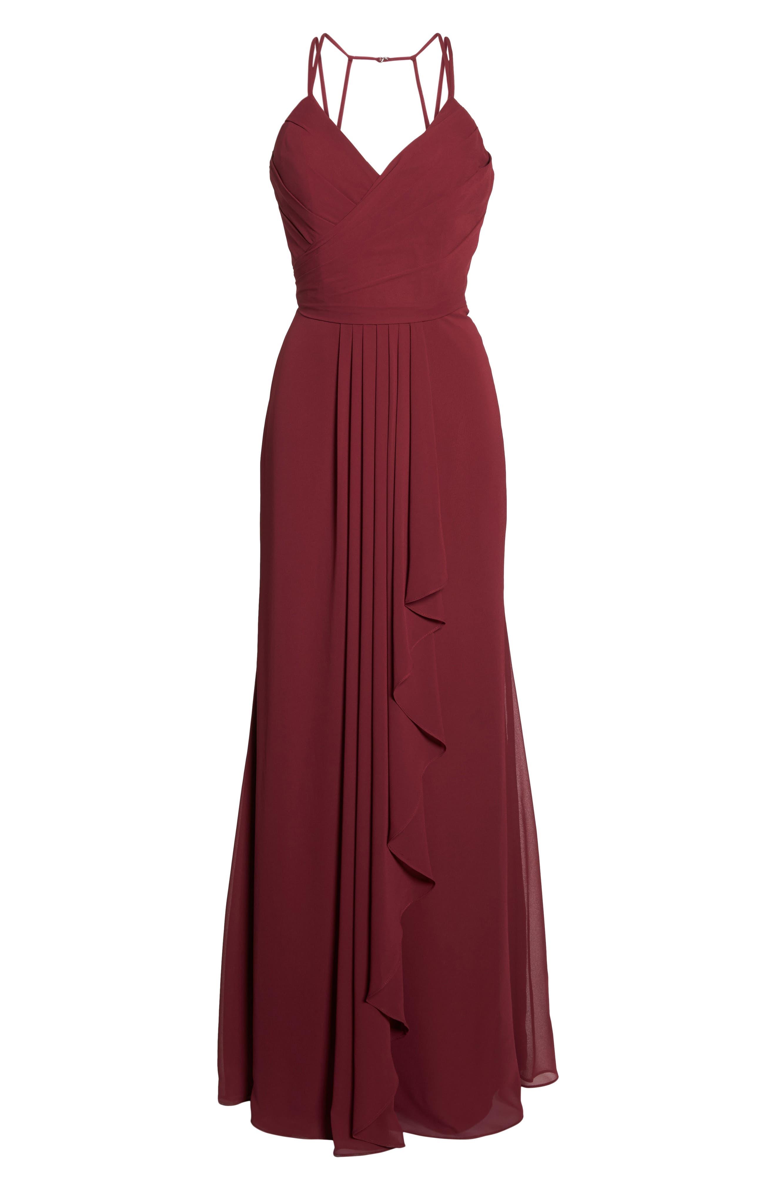 Chiffon Gown,                             Main thumbnail 1, color,                             Burgundy
