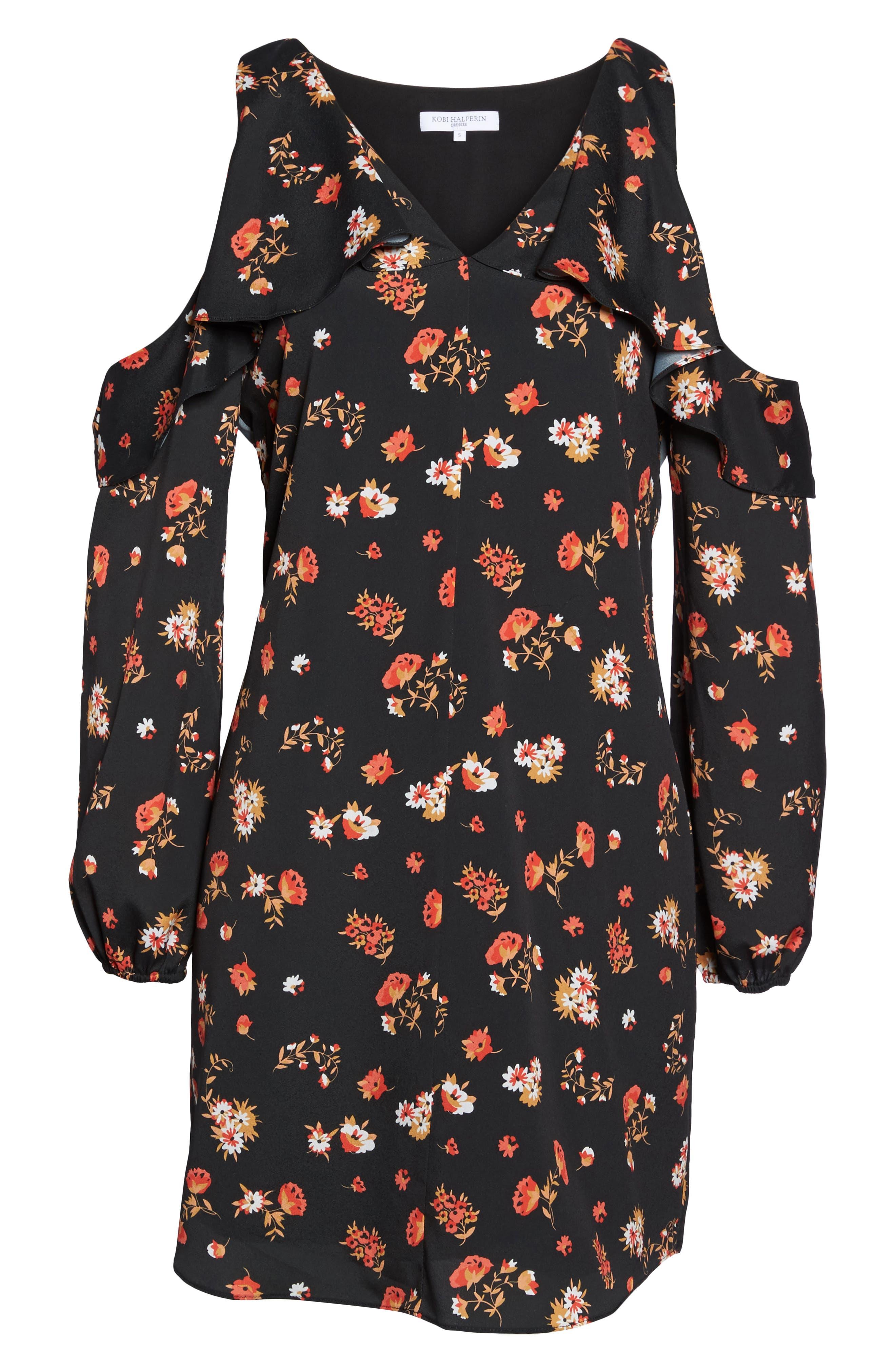 Tamar Cold Shoulder Shift Dress,                             Alternate thumbnail 6, color,                             Black Multi