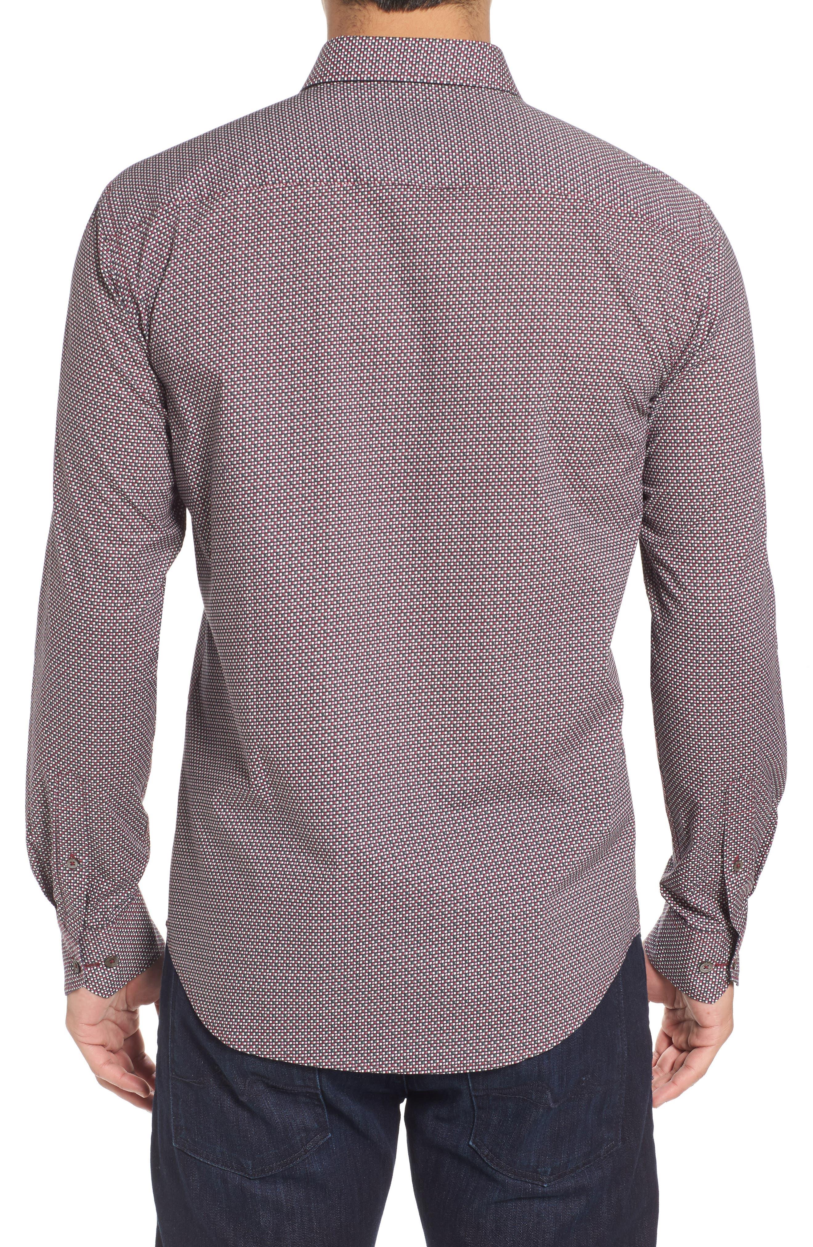 Trim Fit Print Sport Shirt,                             Alternate thumbnail 2, color,                             Wine