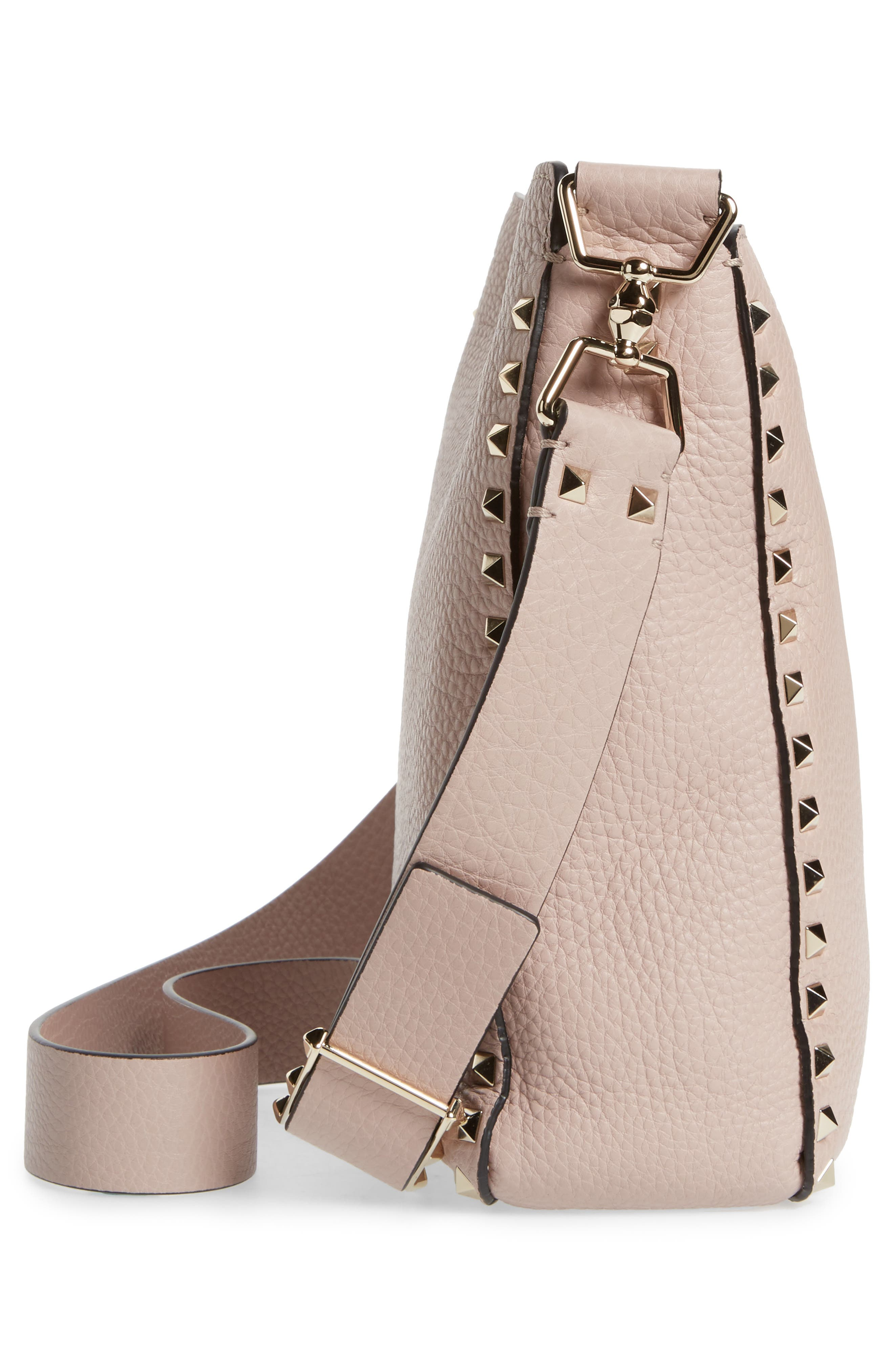Small Rockstud Leather Hobo,                             Alternate thumbnail 5, color,                             Poudre