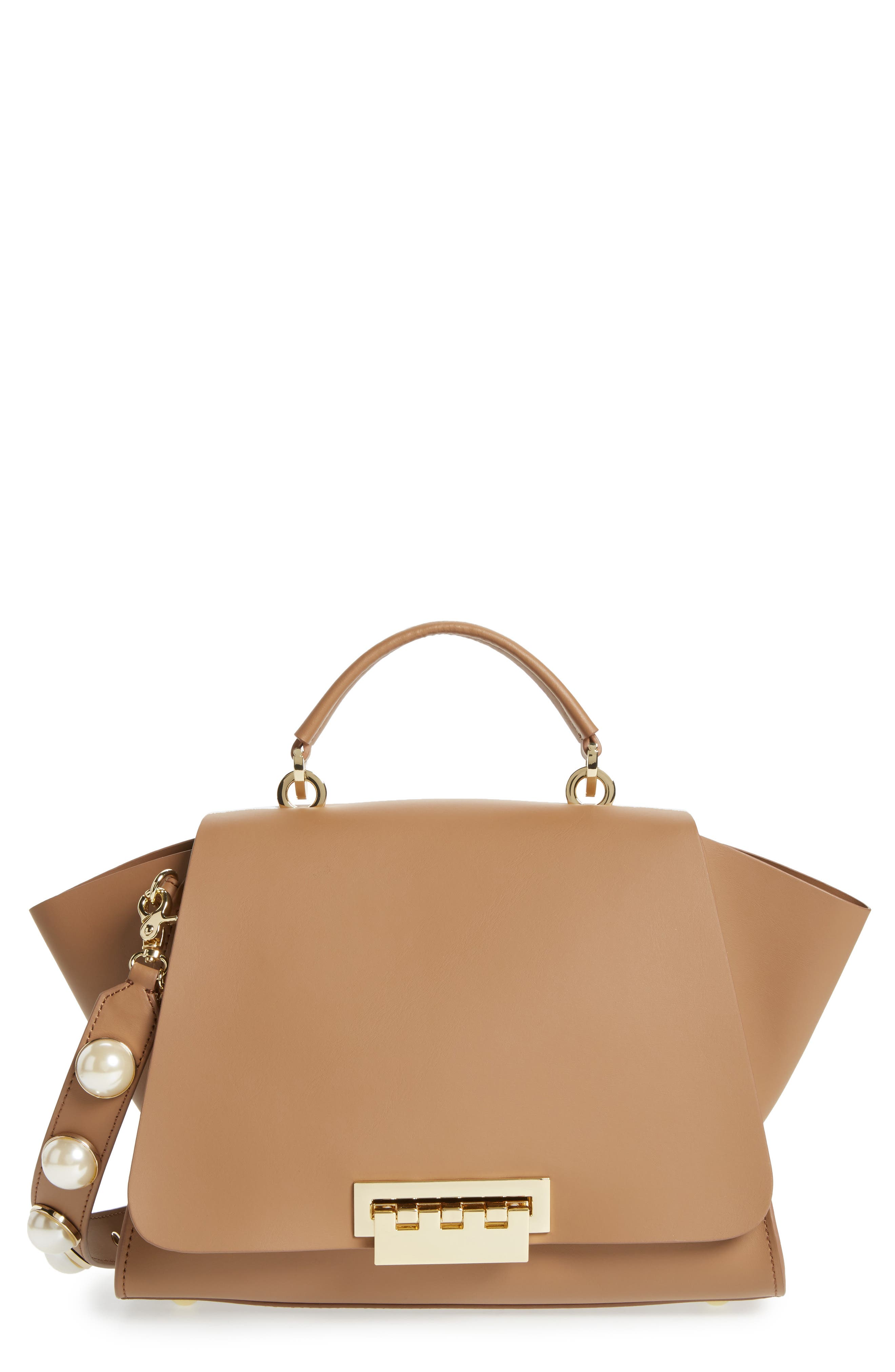 Eartha Iconic Leather Top Handle Satchel,                             Main thumbnail 1, color,                             Nude